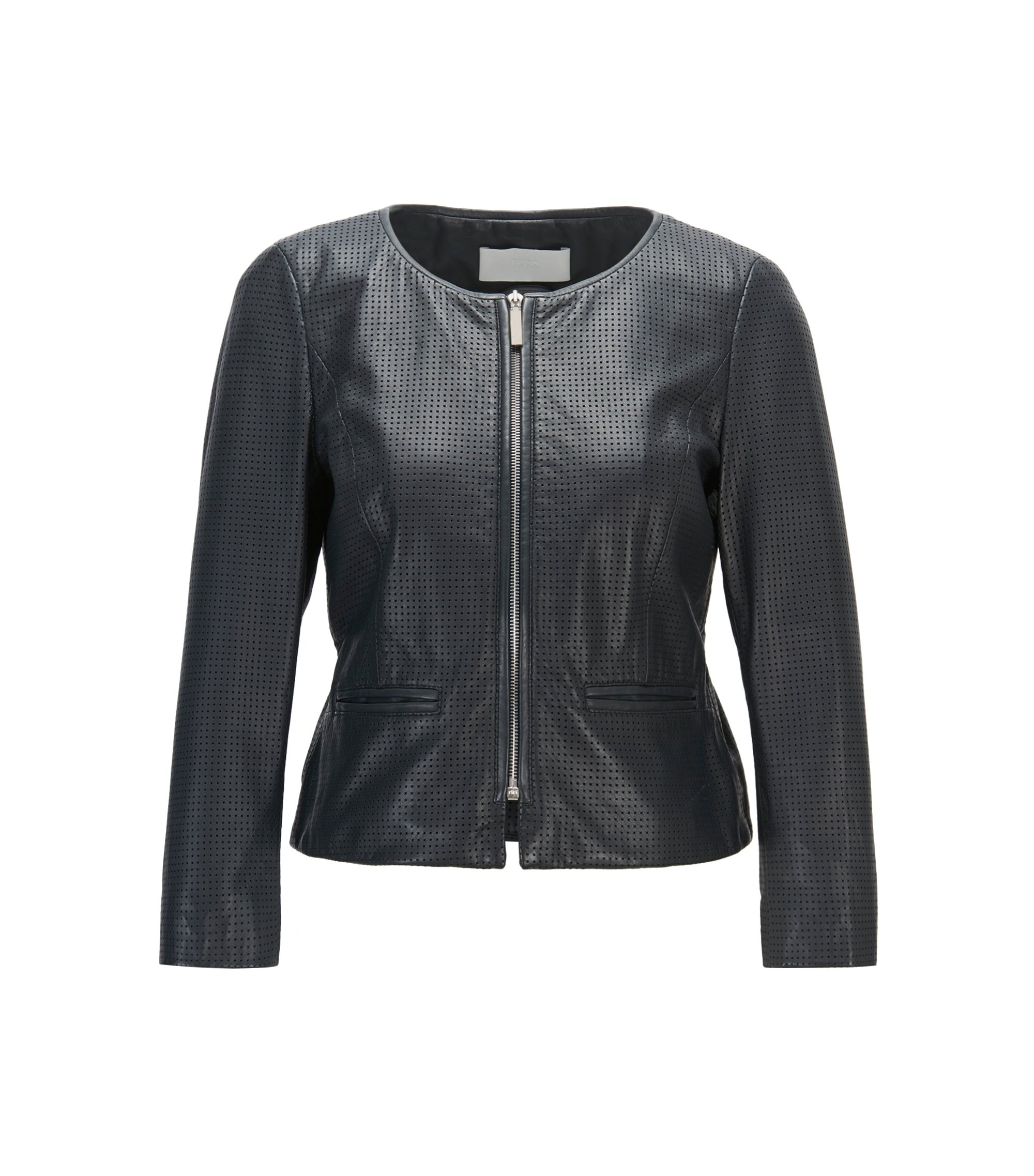 Perforated Lambskin Leather Jacket | Sallotina, Open Blue