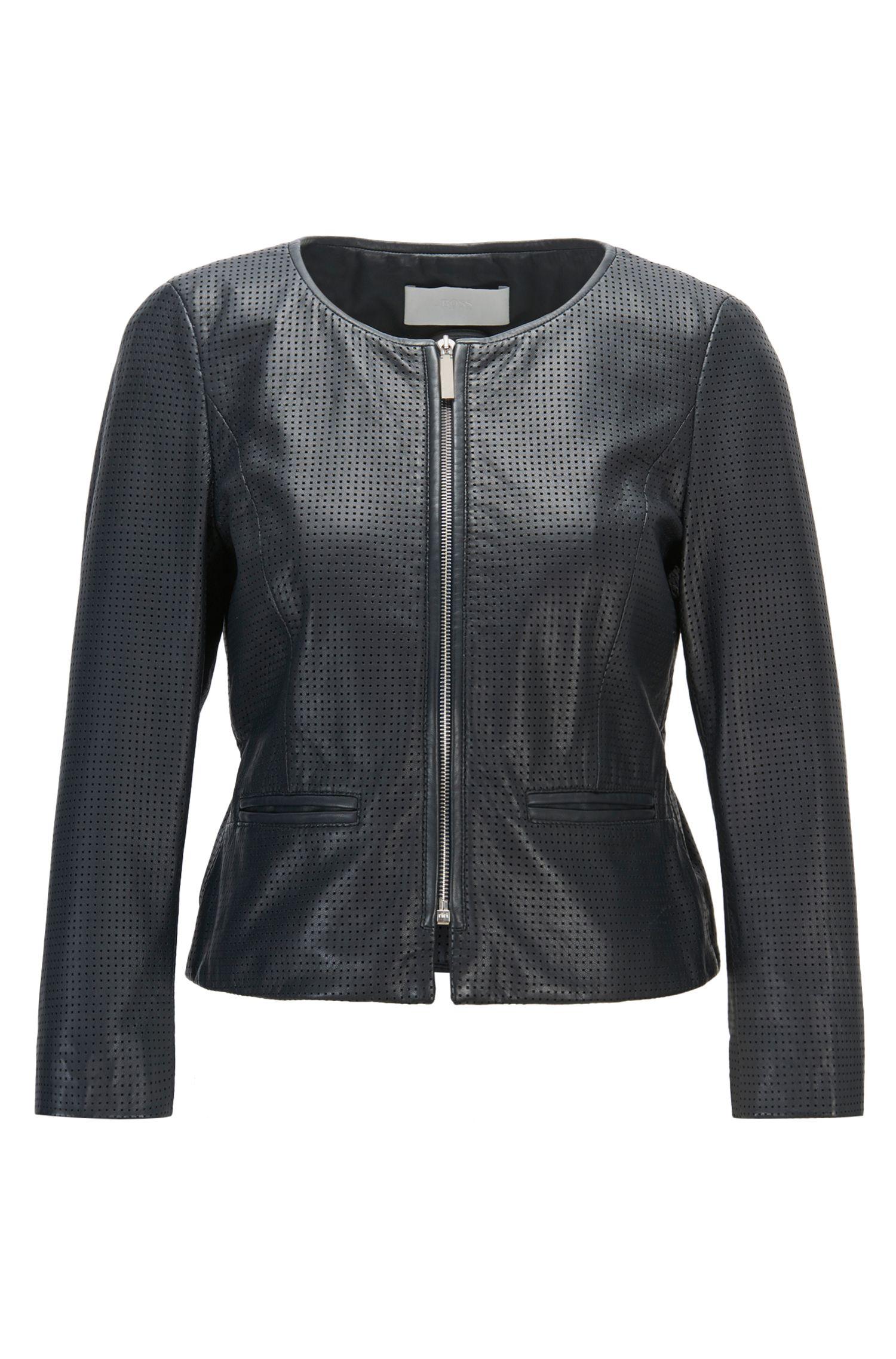 Perforated Lambskin Leather Jacket | Sallotina