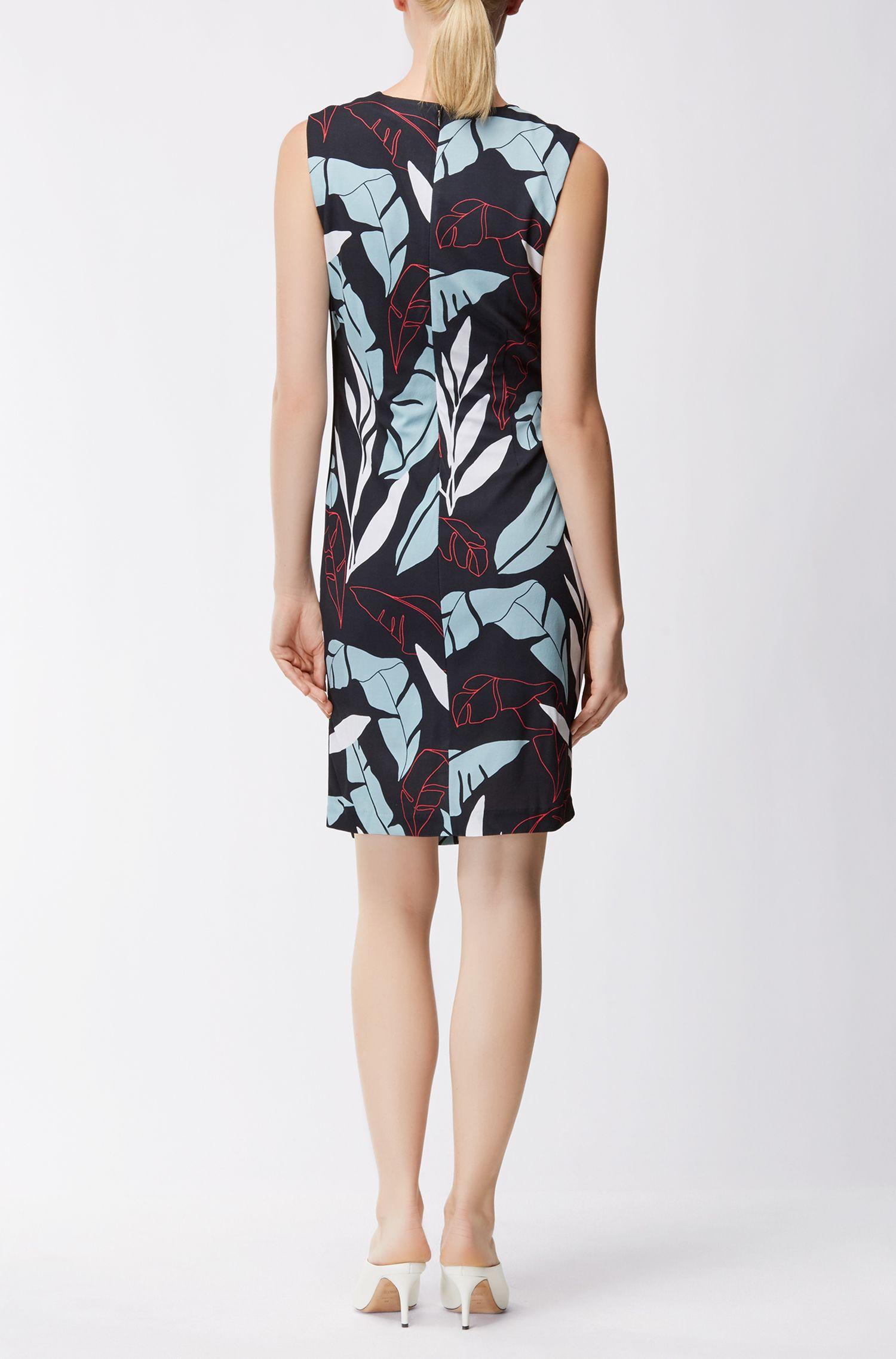 Leaf-Print Ruched Sheath Dress | Erela