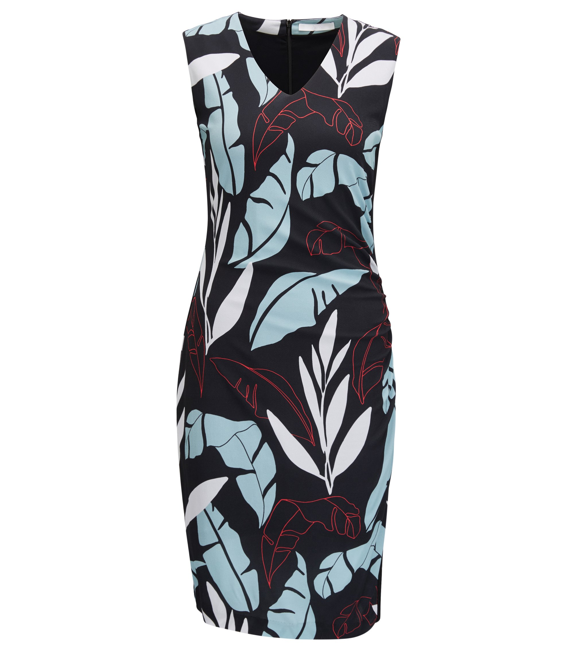Leaf-Print Ruched Sheath Dress | Erela, Patterned