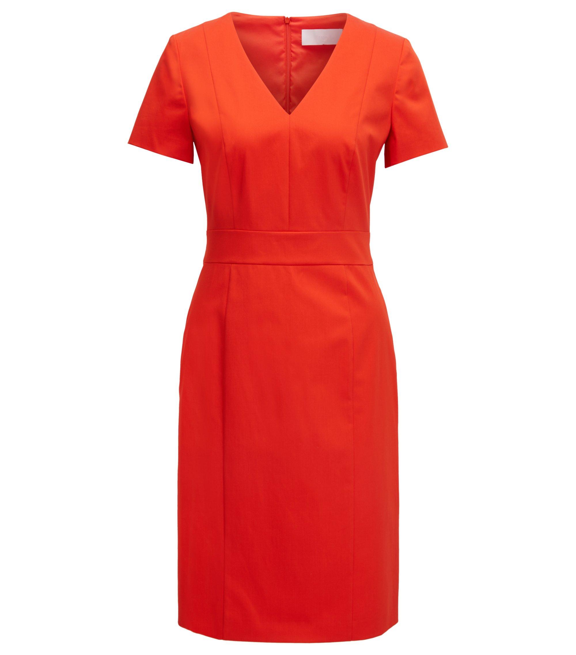 Stretch Cotton V-Neck Dress | Dasali, Red