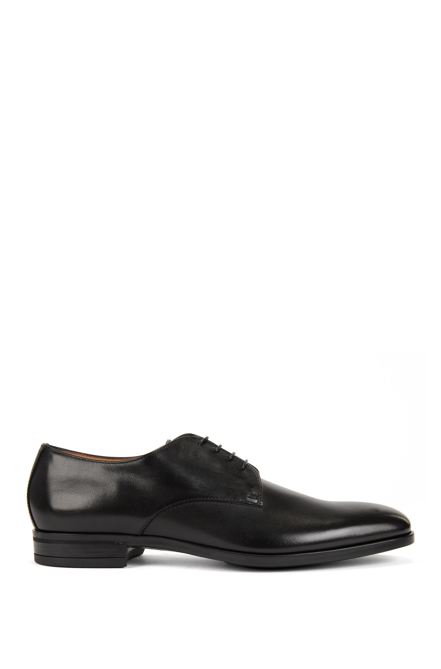 Derby shoes in burnished leather, Black