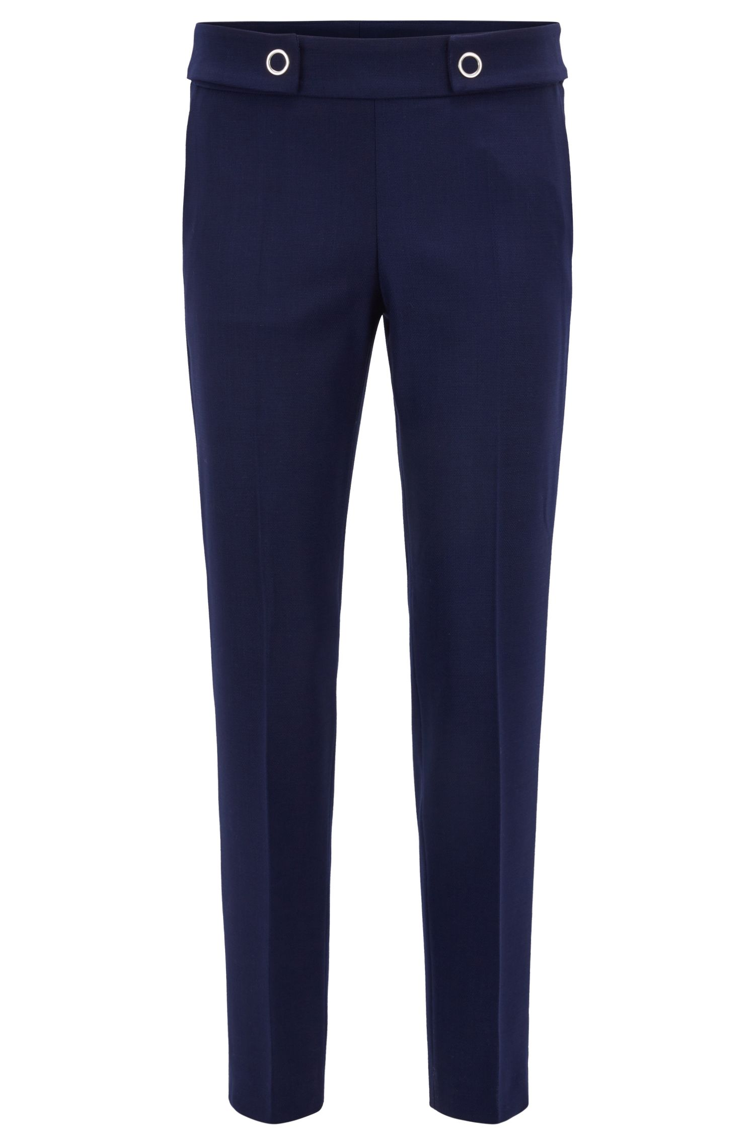 Stretch Virgin Wool Cropped Pant | Tibalena, Blue