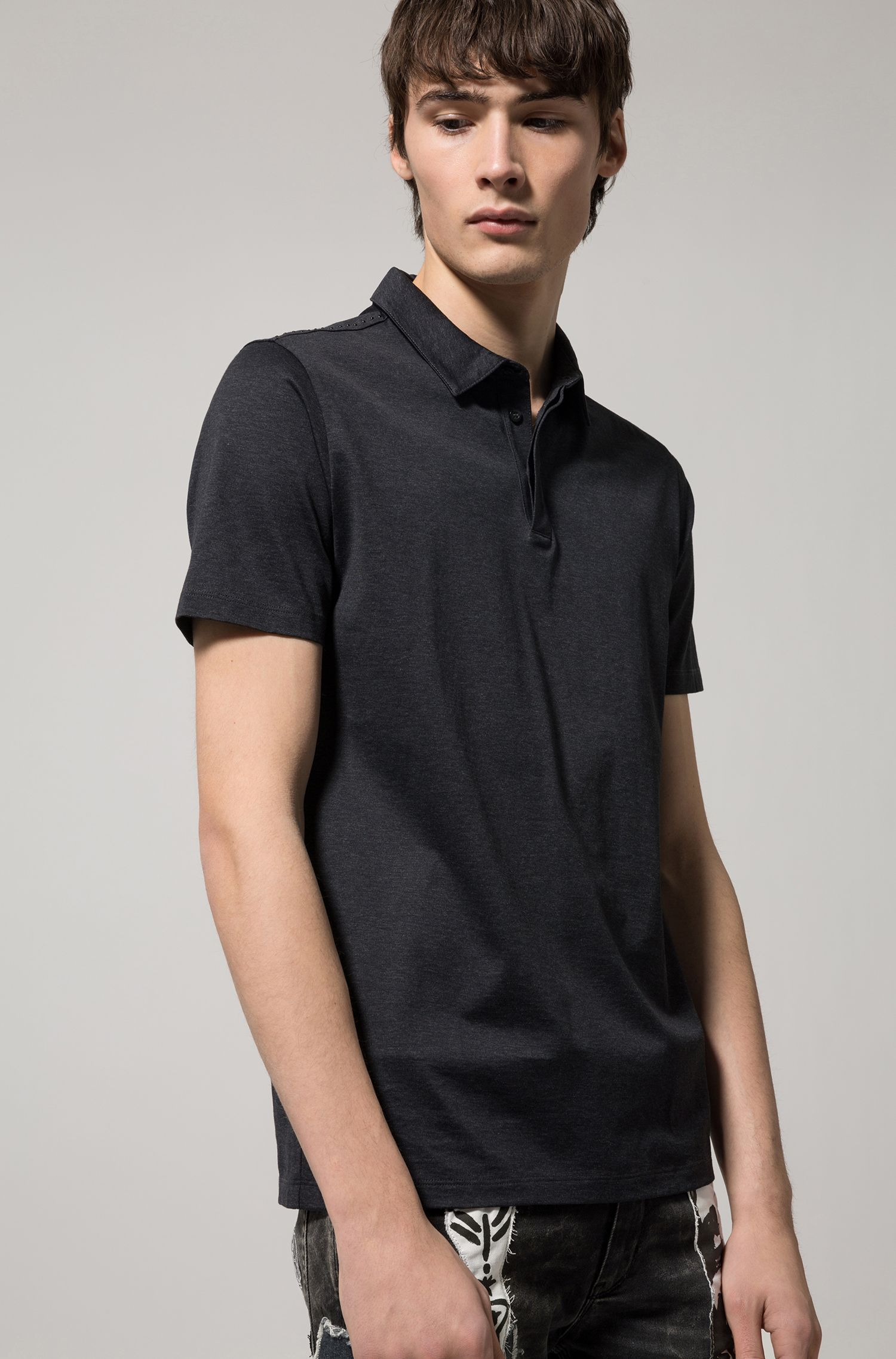 Cotton Polo Shirt, Slim Fit | Digatos, Charcoal