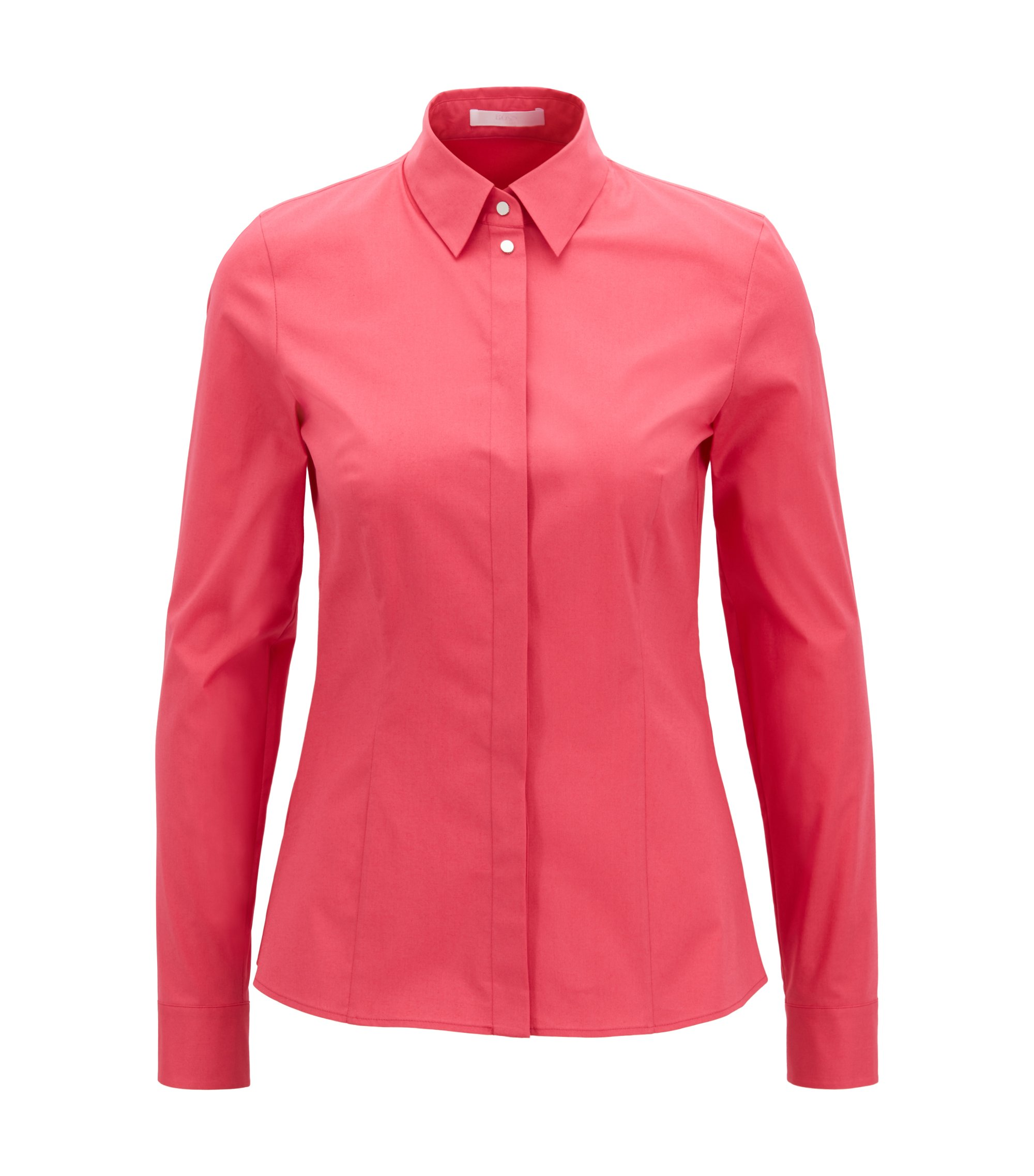 Stretch Cotton Dress Shirt | Basatia, Open Pink