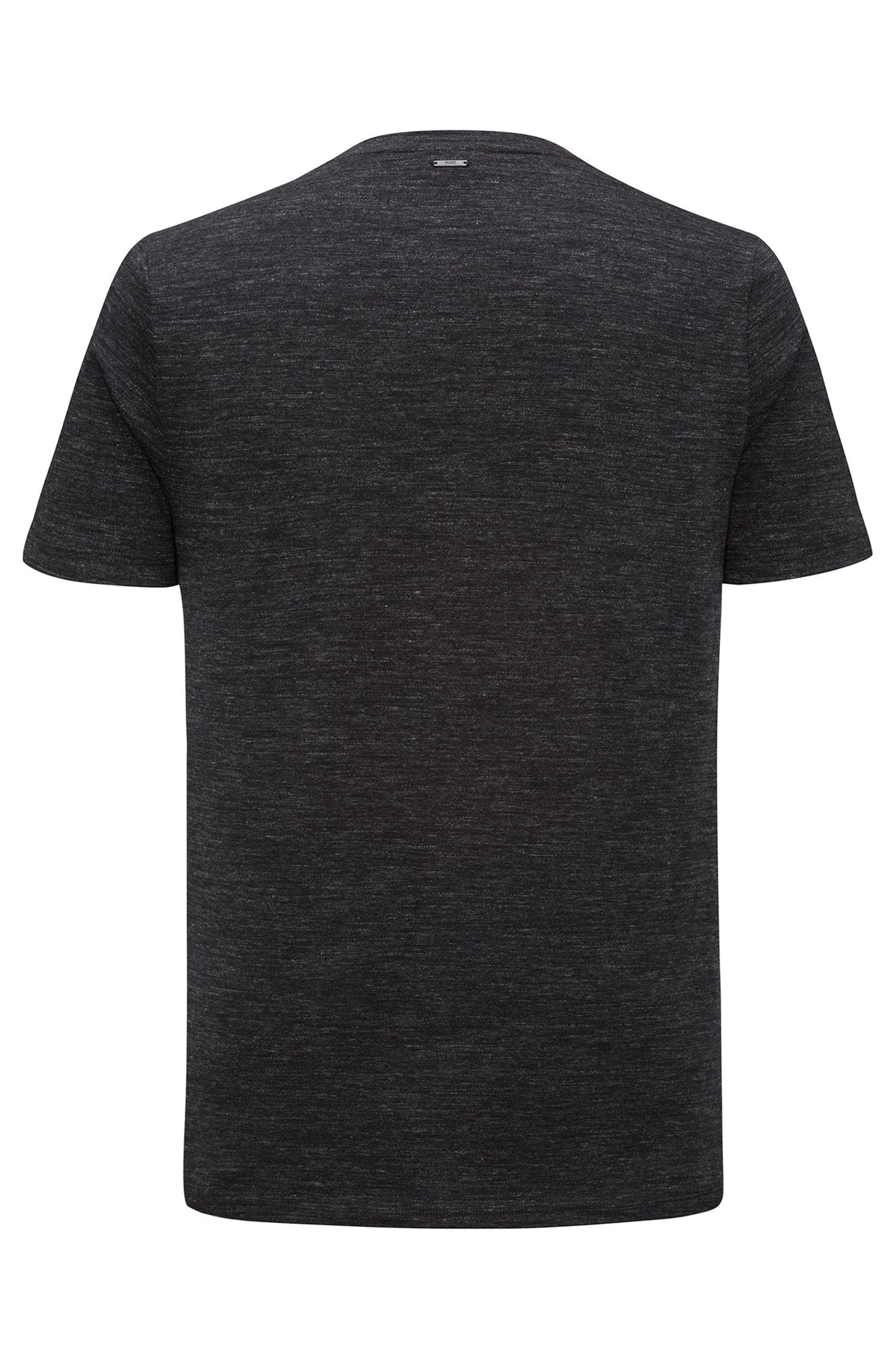 Faux Leather-Trim Cotton T-Shirt | Dohnny, Black