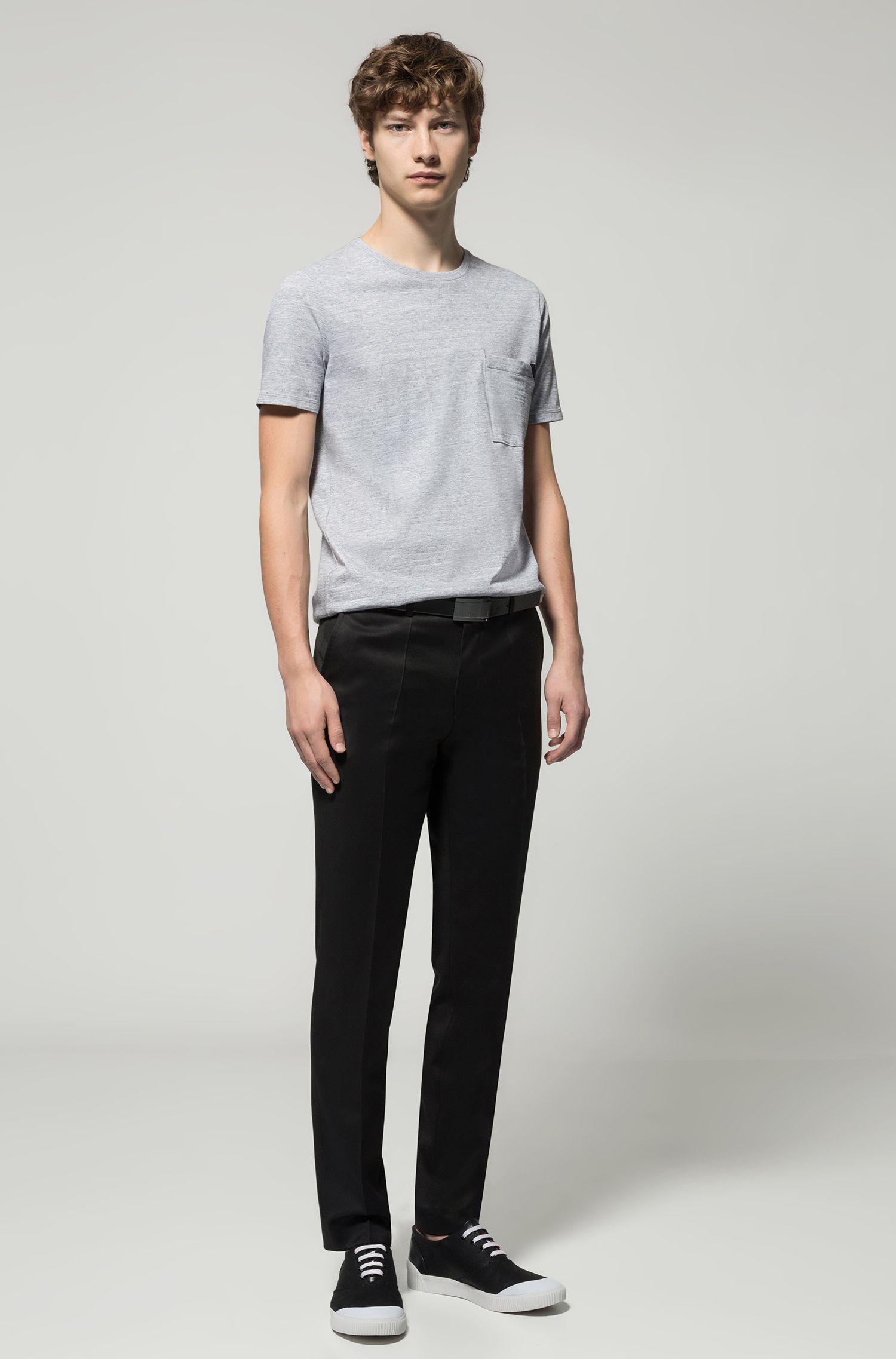 Faux Leather-Trim Cotton T-Shirt | Dohnny, Open Grey