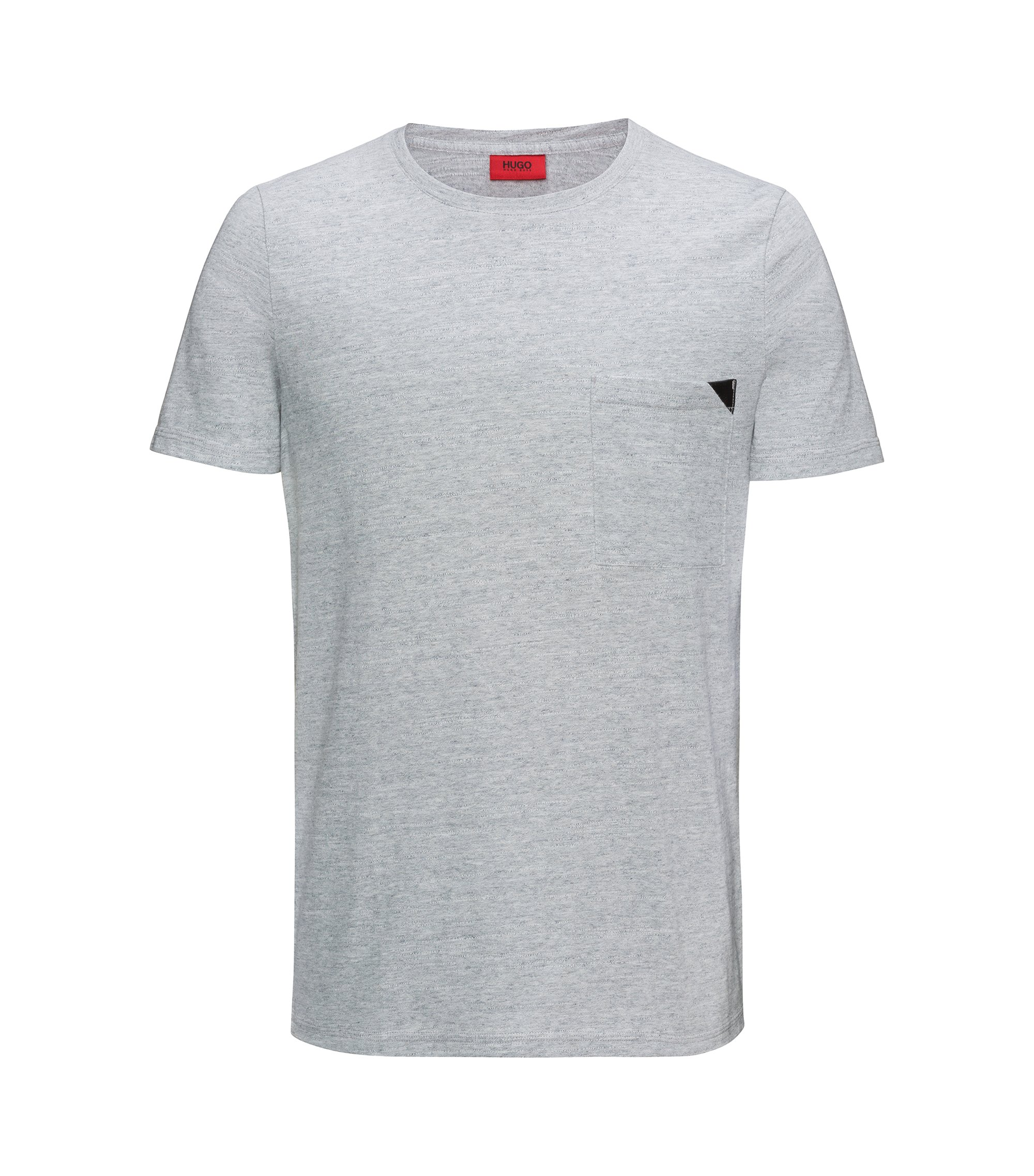 Faux Leather-Trim Cotton T-Shirt | Dohnny, Open Grey