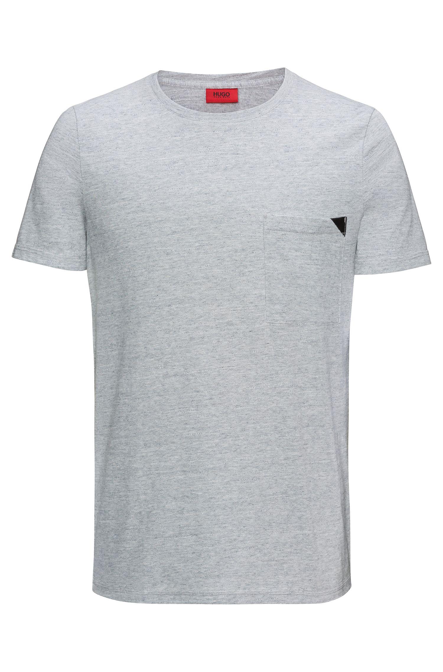 Faux Leather-Trim Cotton T-Shirt | Dohnny