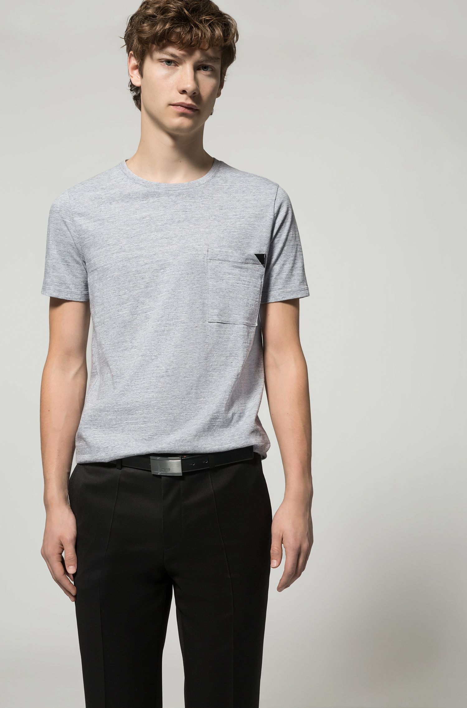 Faux Leather-Trim Cotton T-Shirt | Dohnny