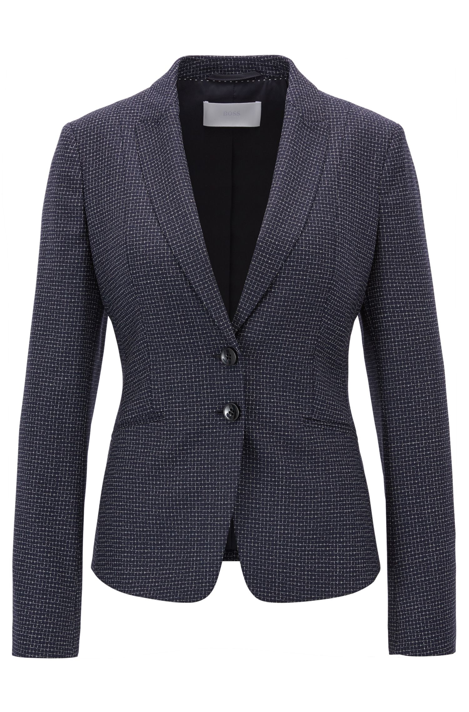 Metallic Virgin Wool Blazer | Jibena, Patterned