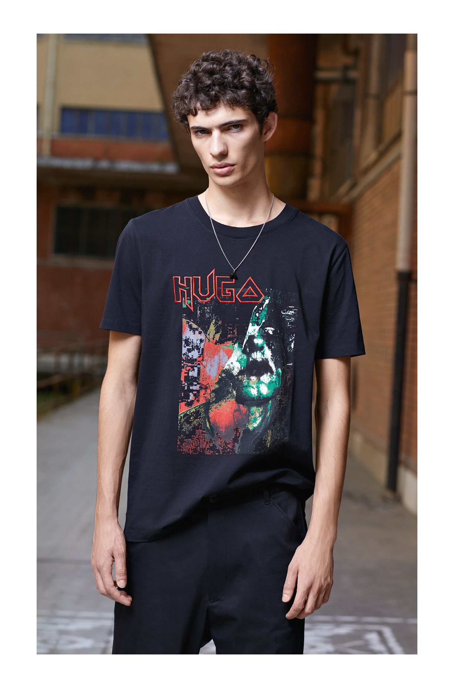 Metal-Inspired Cotton Graphic T-Shirt
