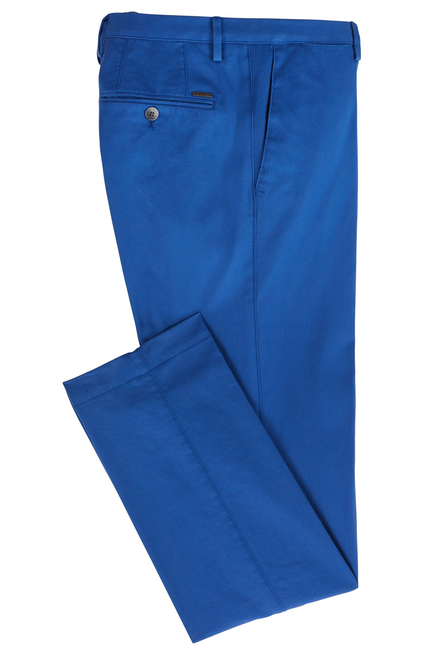 Slim-fit chinos in stretch cotton, Open Blue