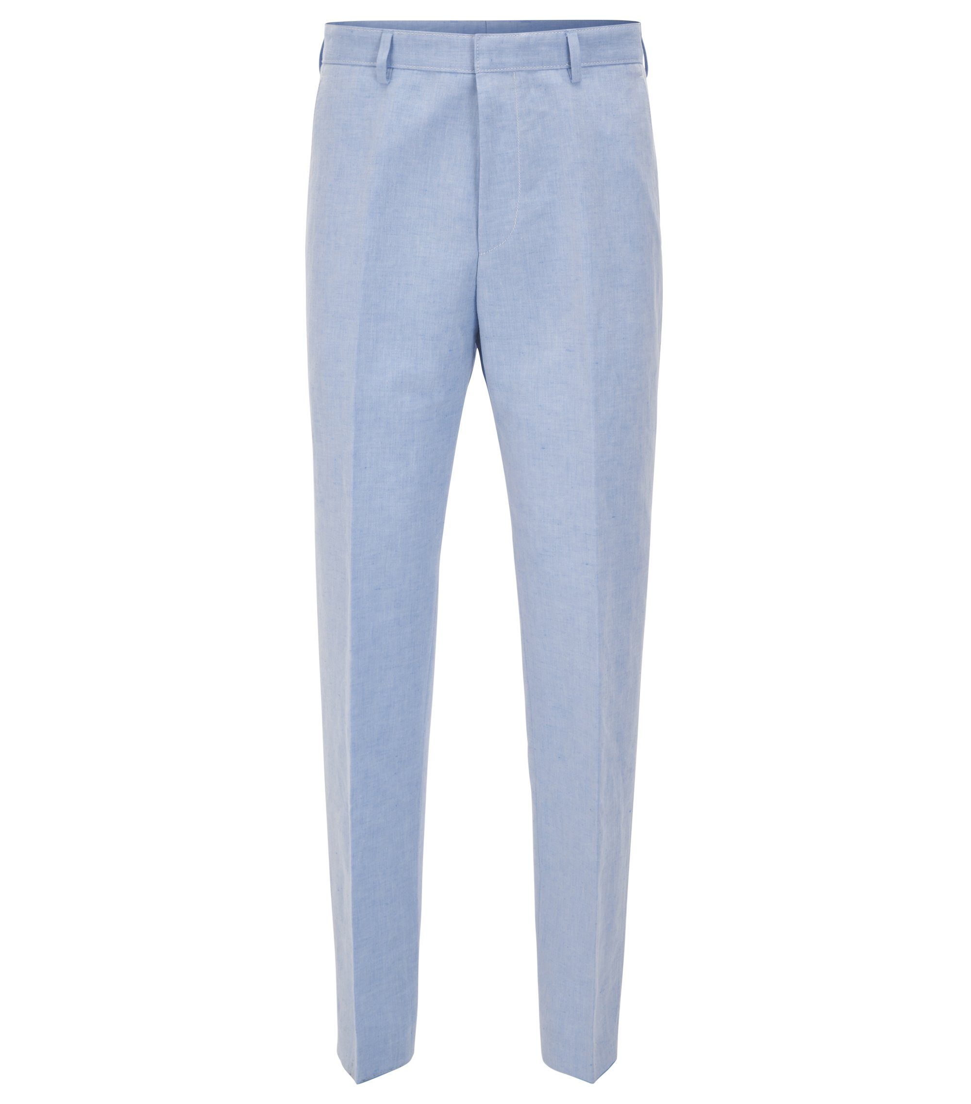 Linen Cotton Dress Pant, Slim Fit | Pirko, Blue