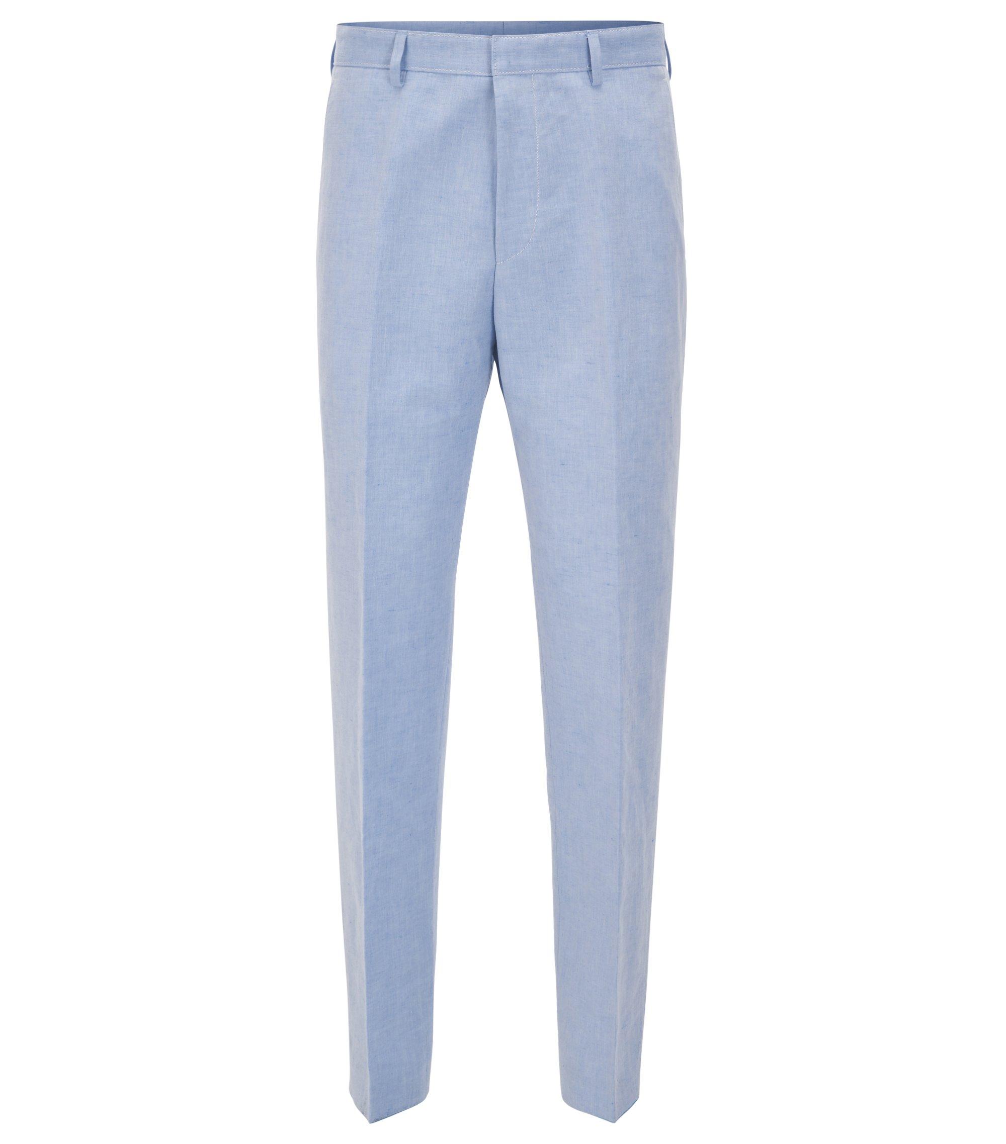 Linen Cotton Dress Pant, Slim Fit | Pirko, Blue