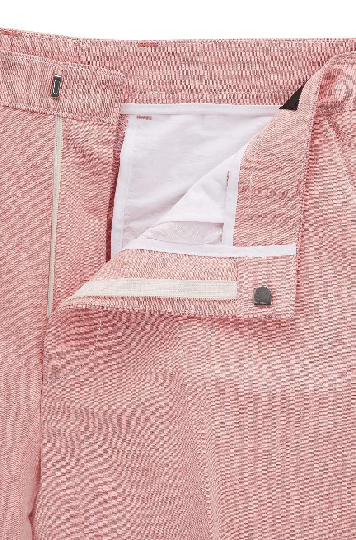 Linen Cotton Dress Pant, Slim Fit | Pirko, Red
