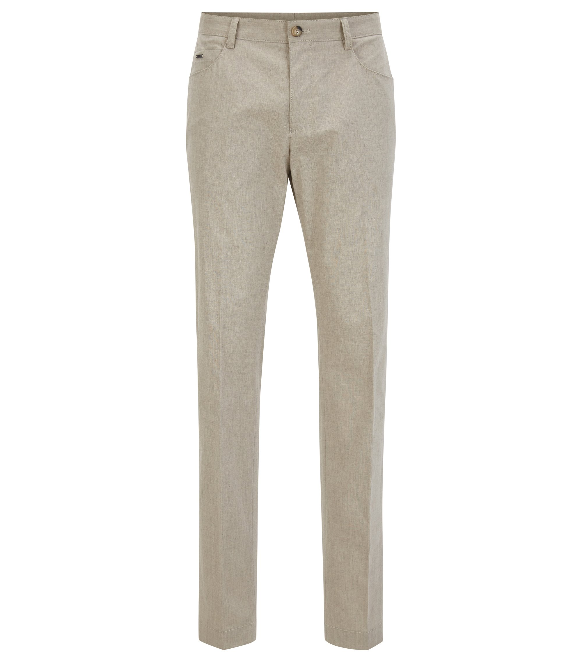 Heathered Stretch Cotton Dress Pant, Slim Fit | Gaetano, Beige
