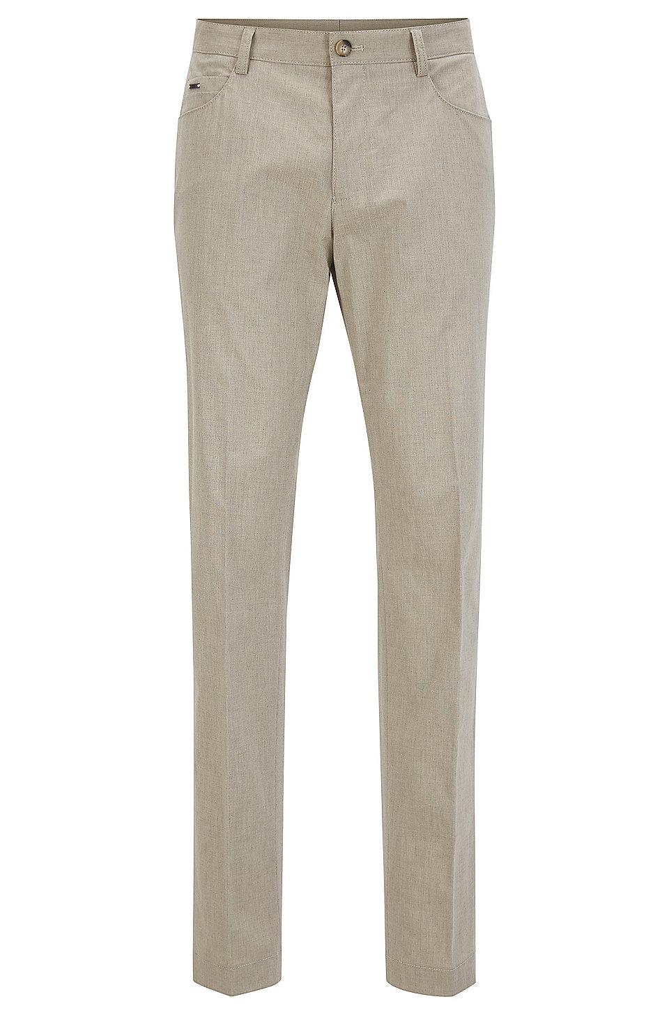 d4fa9822 BOSS - Heathered Stretch Cotton Dress Pant, Slim Fit | Gaetano