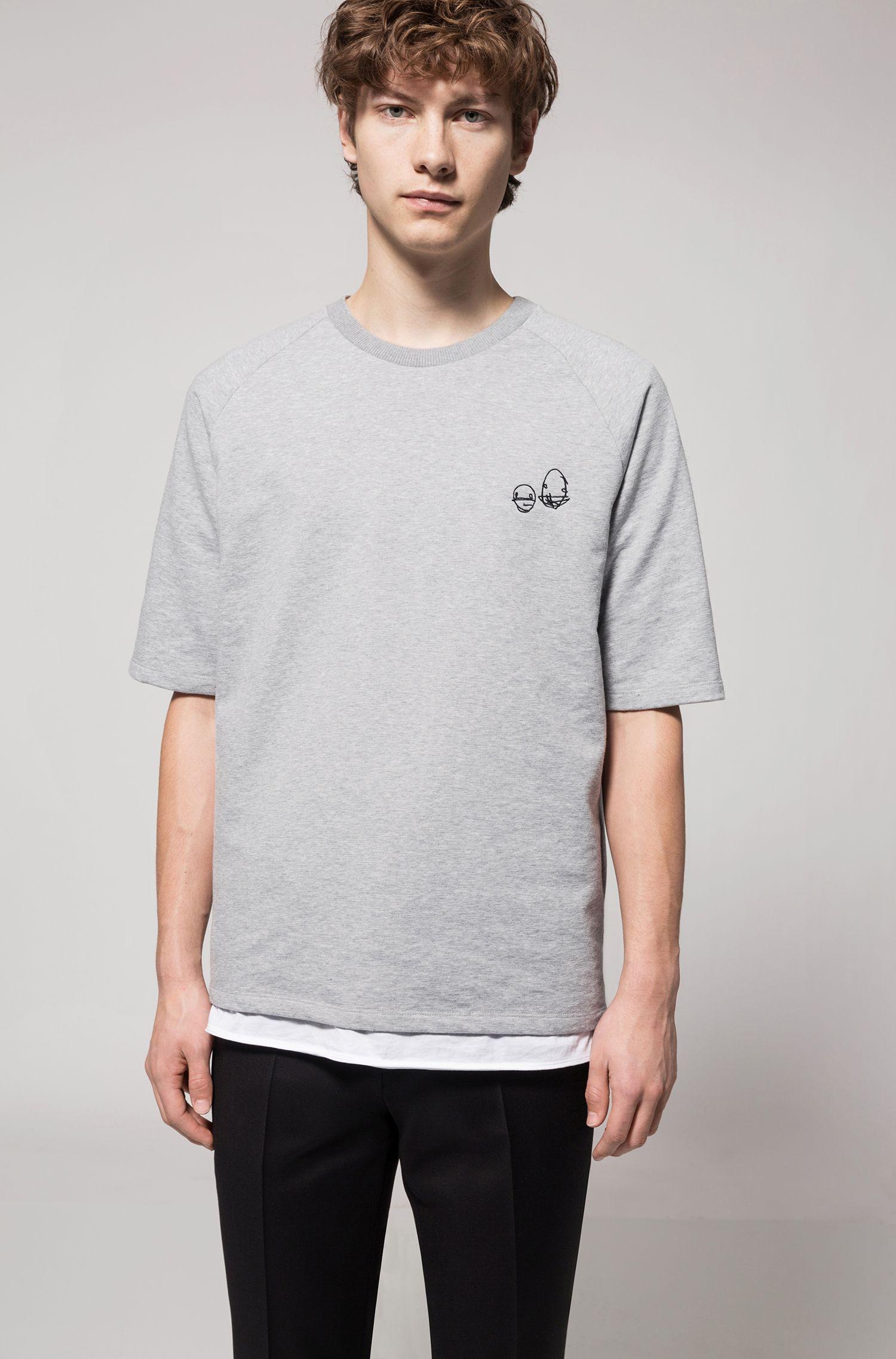 Scribbled Cotton Blend Short-Sleeve Sweatshirt | Deast, Open Grey