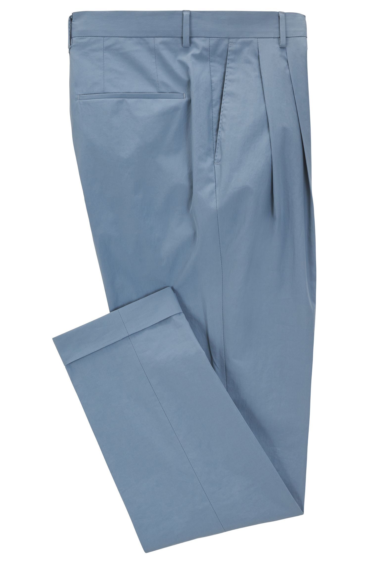 Pleated Cotton Dress Pant, Relaxed Fit | Orville, Open Grey