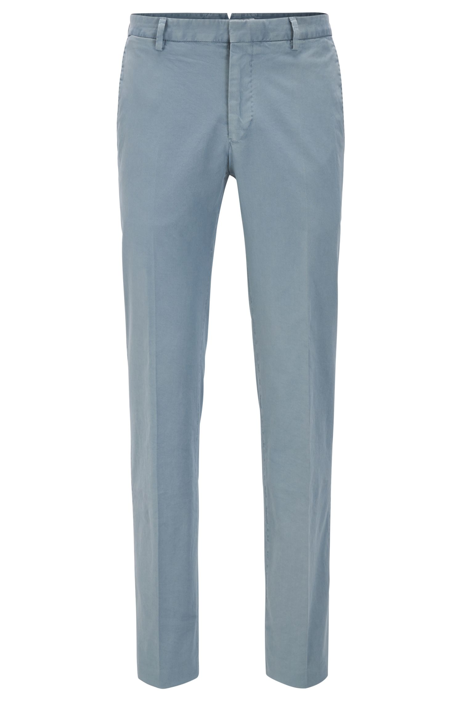 Garment-Dyed Stretch Cotton Suiting Pant, Slim Fit | Barlow D, Open Grey