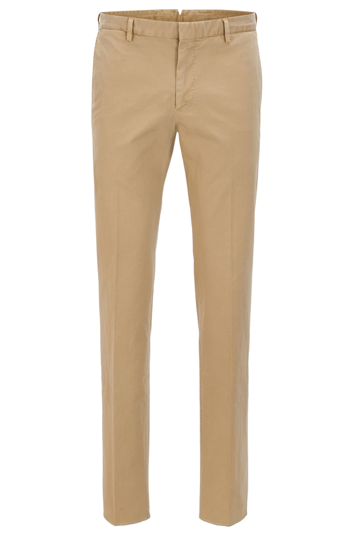 Garment-Dyed Stretch Cotton Suiting Pant, Slim Fit | Barlow D