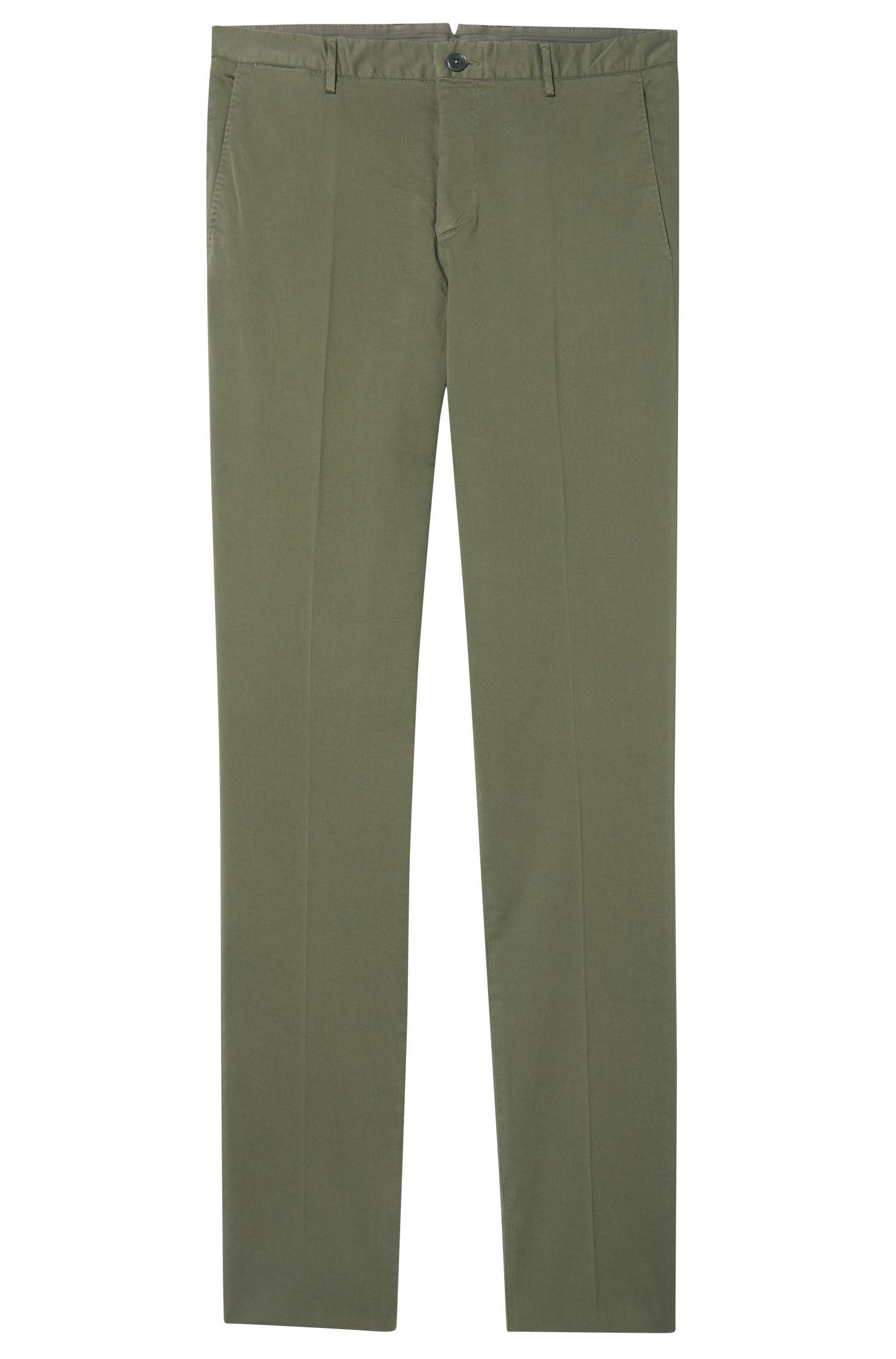 Garment-Dyed Stretch Cotton Suiting Pant, Slim Fit | Barlow D, Open Green
