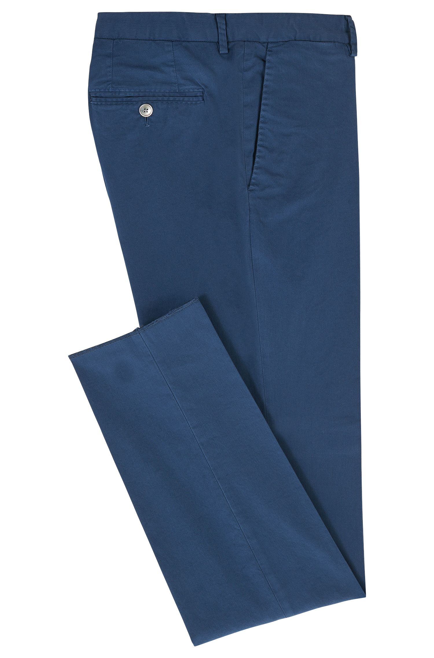 Garment-Dyed Stretch Cotton Suiting Pant, Slim Fit | Barlow D, Open Blue