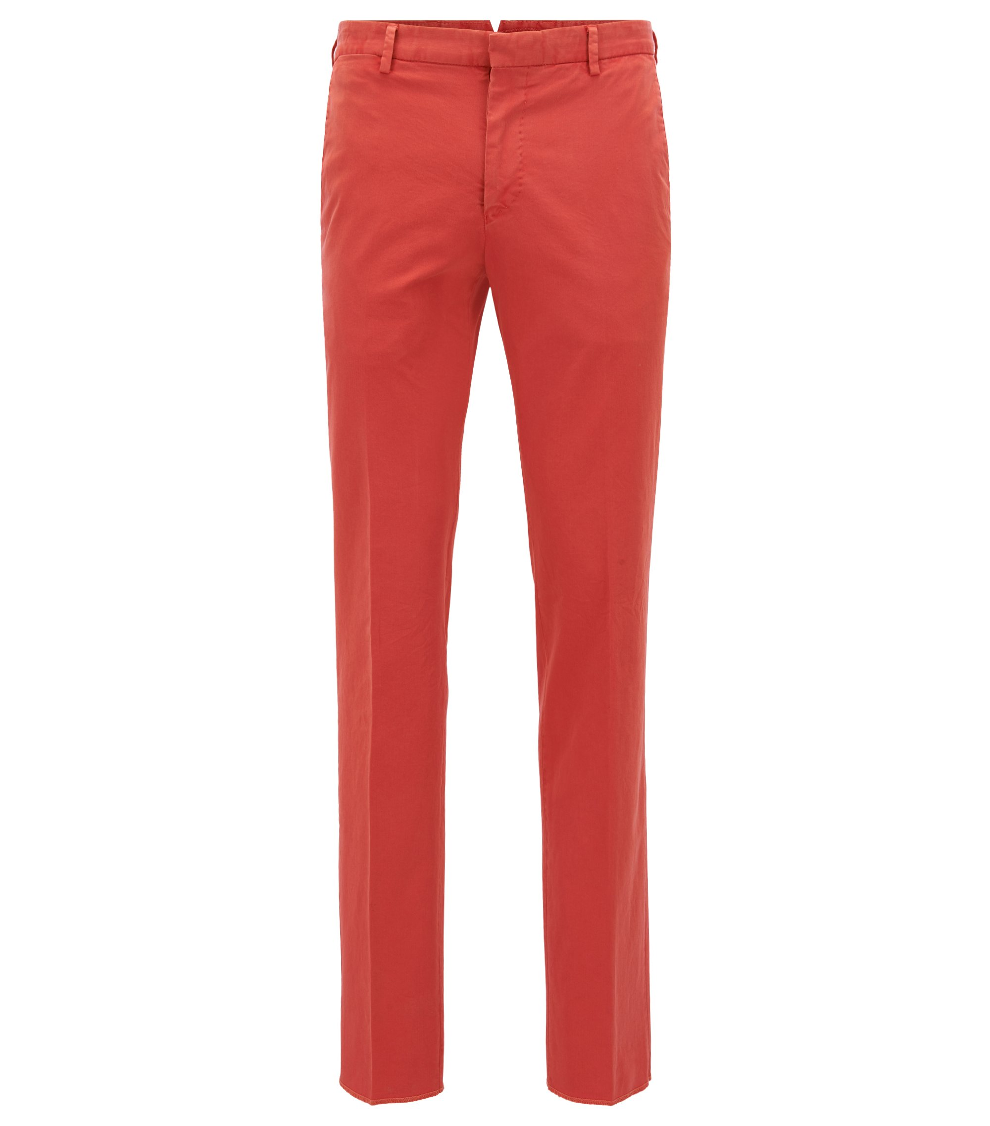 Garment-Dyed Stretch Cotton Suiting Pant, Slim Fit | Barlow D, Dark Orange