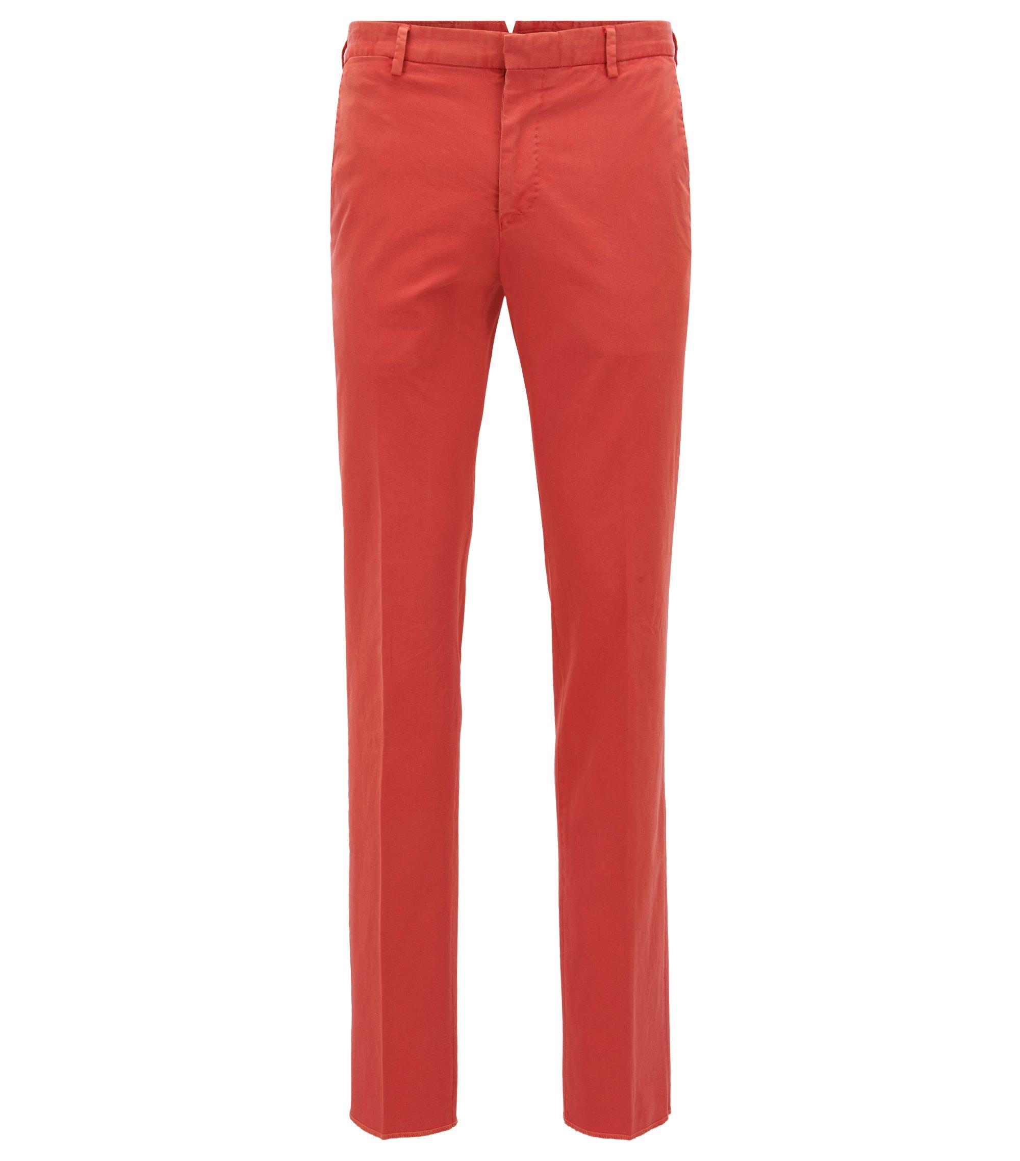 Garment-Dyed Stretch Cotton Suiting Pant, Slim Fit | Barlow D, Dark Orange