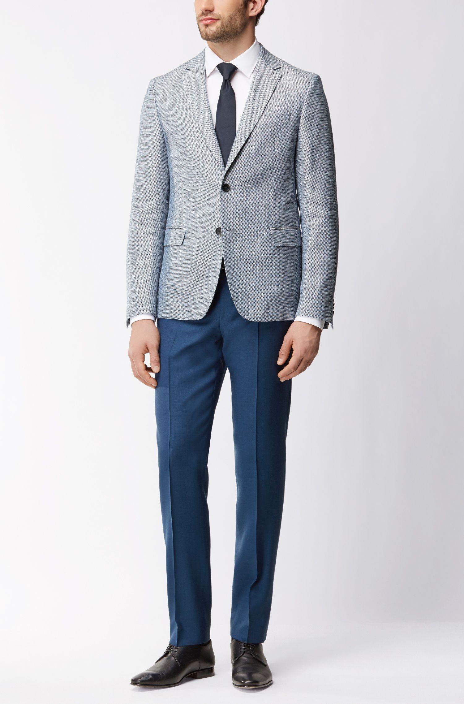 Virgin Wool Dress Pant, Regular Fit | Lightning, Blue