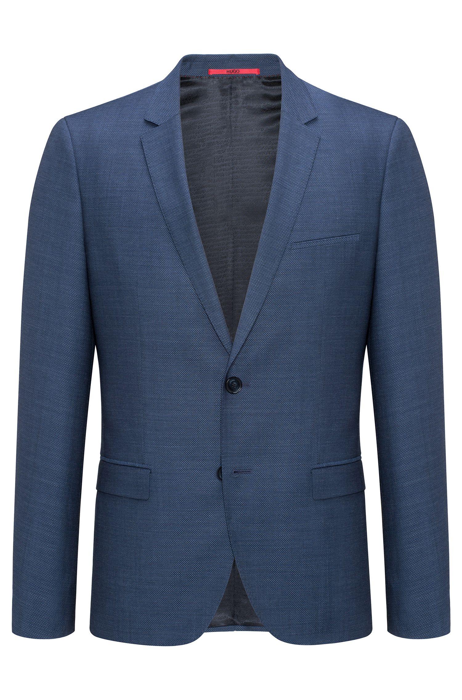 Gingham Virgin Wool Sport Coat, Extra Slim Fit | Arti, Open Blue