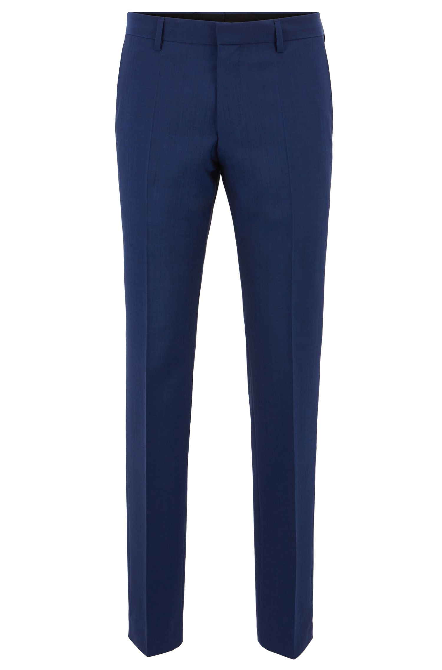 Slim-fit pants in virgin wool with lined waistband, Open Blue