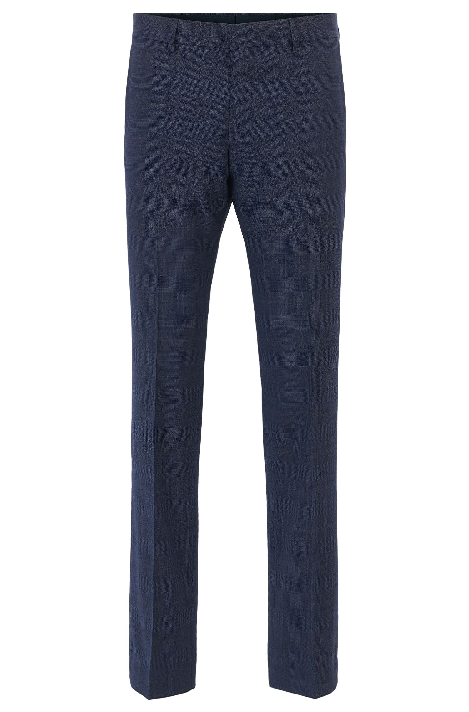 Plaid Virgin Wool Dress Pant, Slim Fit | Genesis, Dark Blue