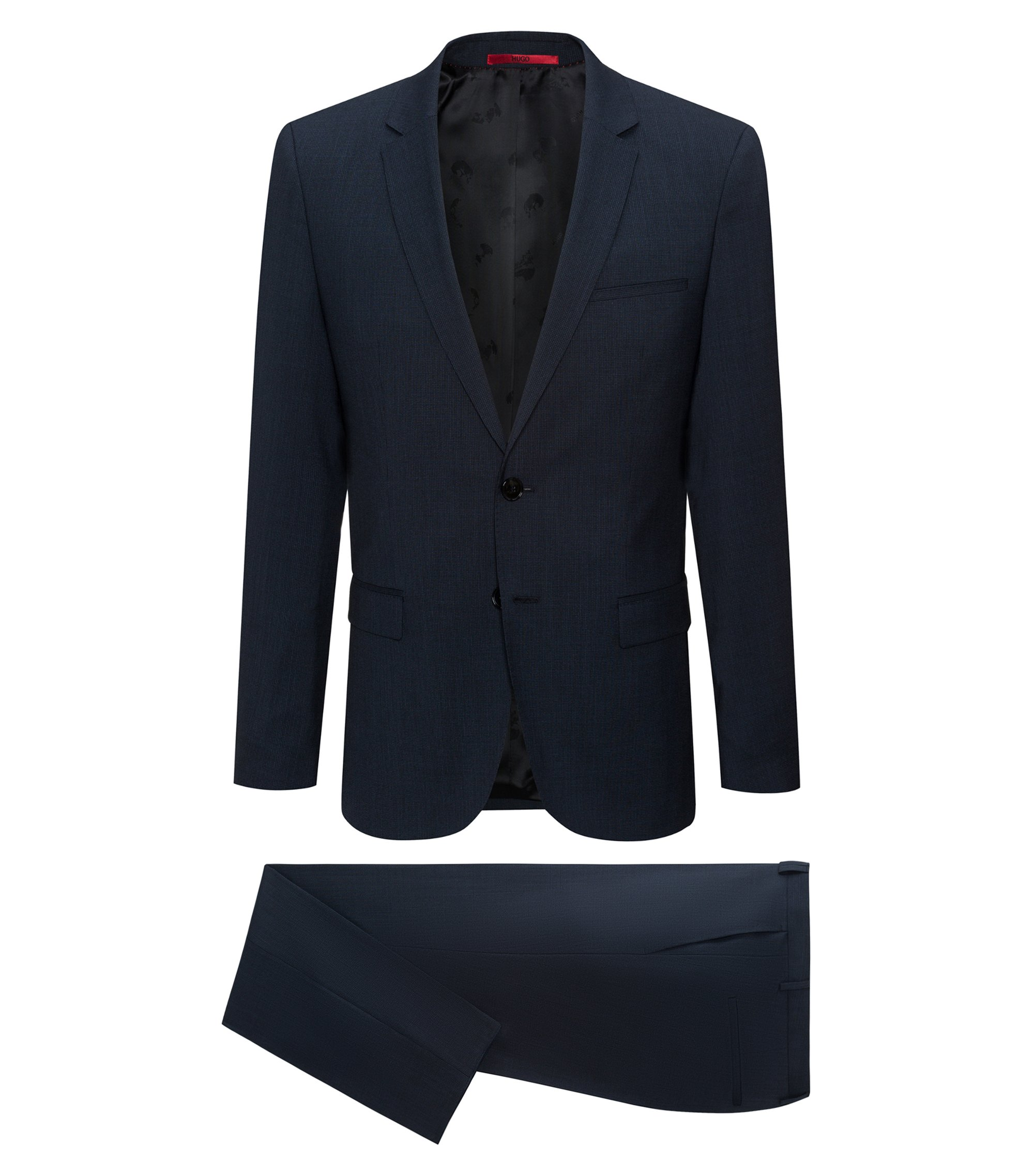 Italian Virgin Wool Suit, Extra-Slim Fit | Arti/Hesten, Dark Blue