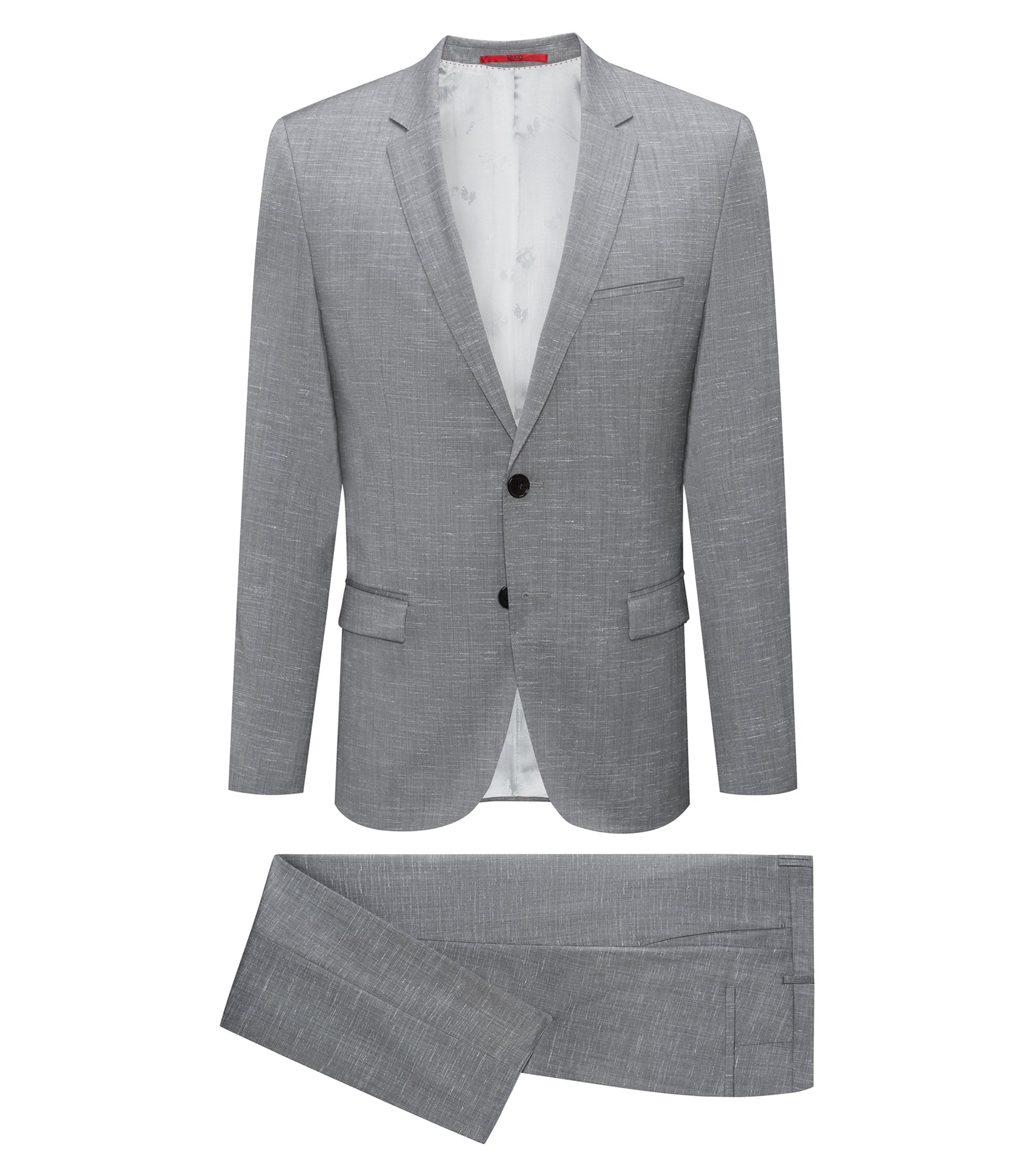 Italian Virgin Wool Suit, Extra-Slim Fit | Arti/Hesten, Open Grey
