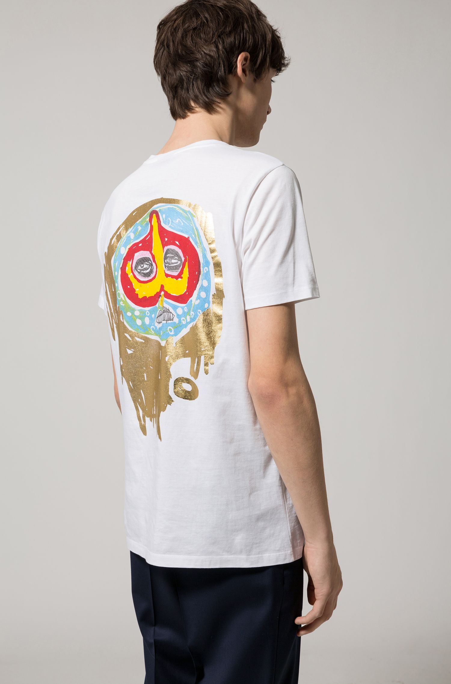 Abstract Cotton Graphic T-Shirt | Dirit , White