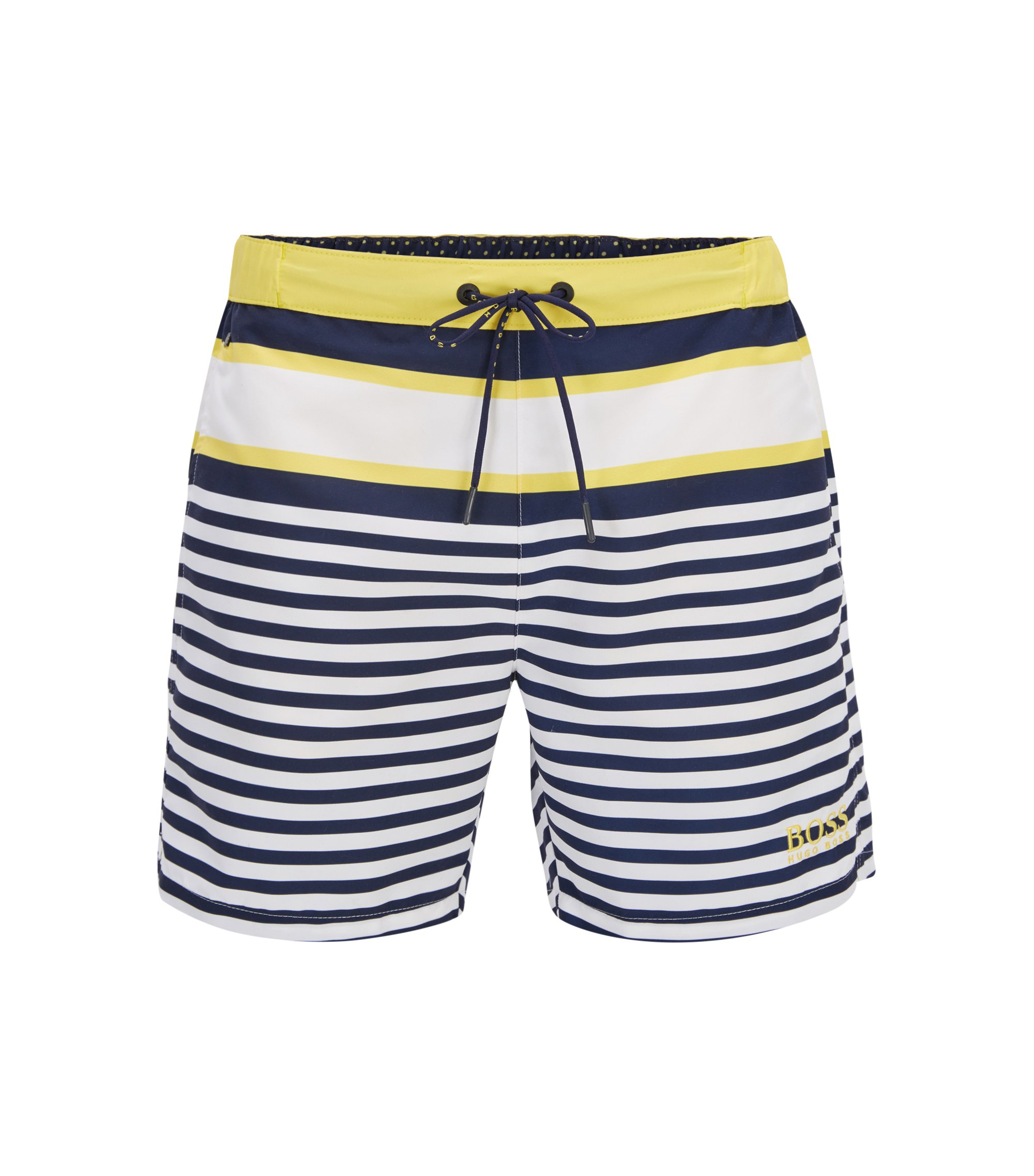Striped Quick Dry Swim Trunk | Bannerfish, Open White