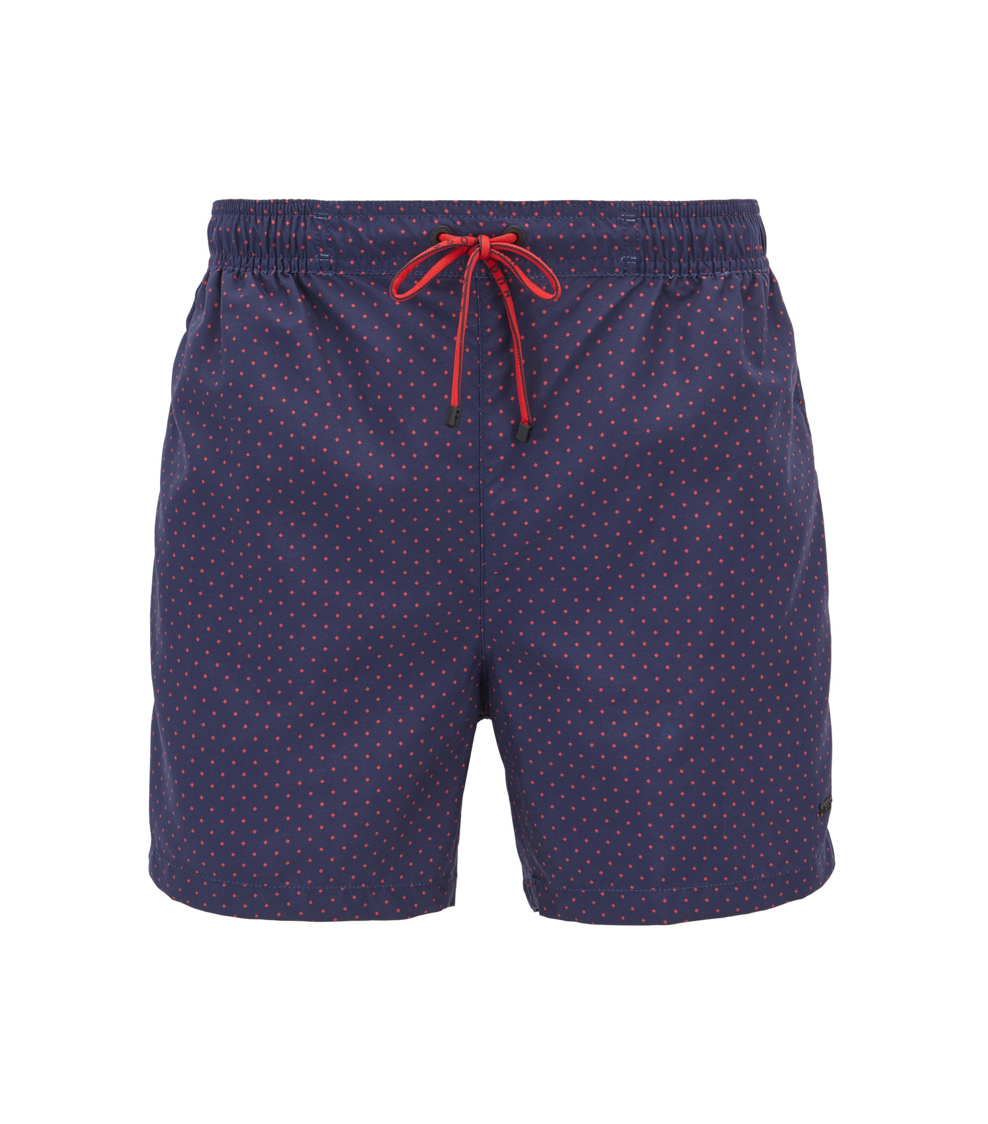Square-Print Quick Dry Swim Trunk | Boxfish, Open Blue
