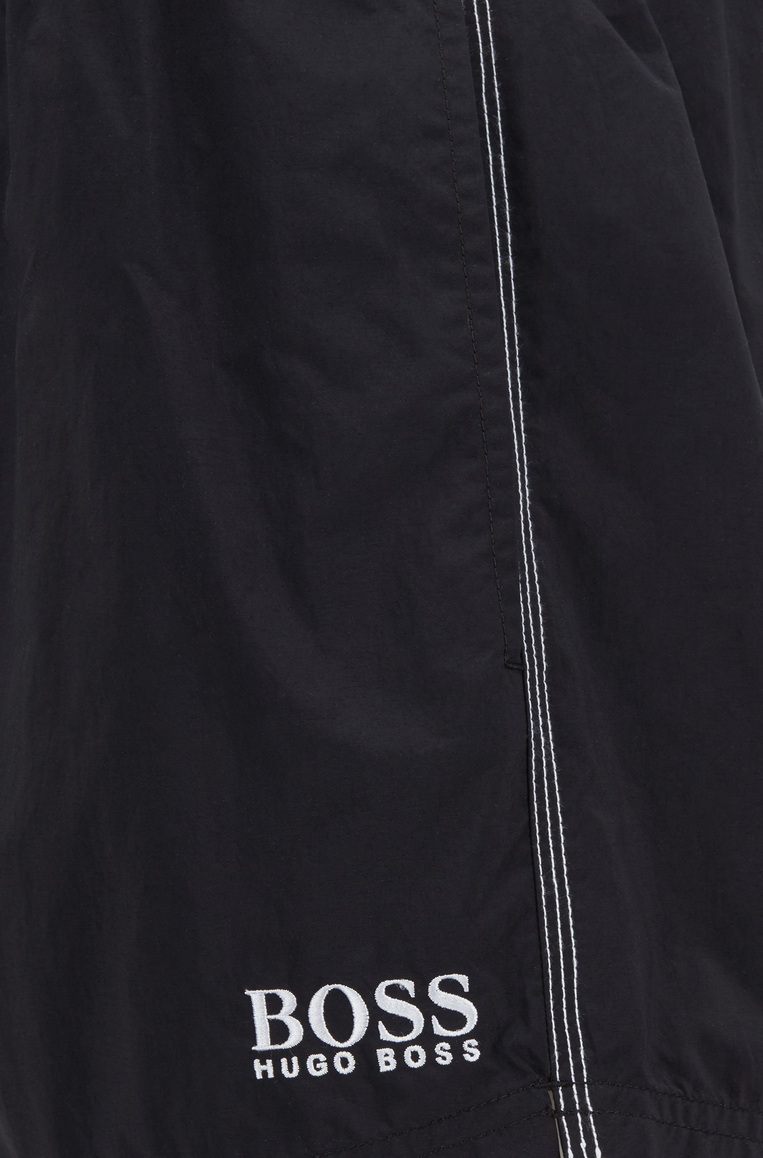 Quick-drying swim shorts with embroidered logo, Black