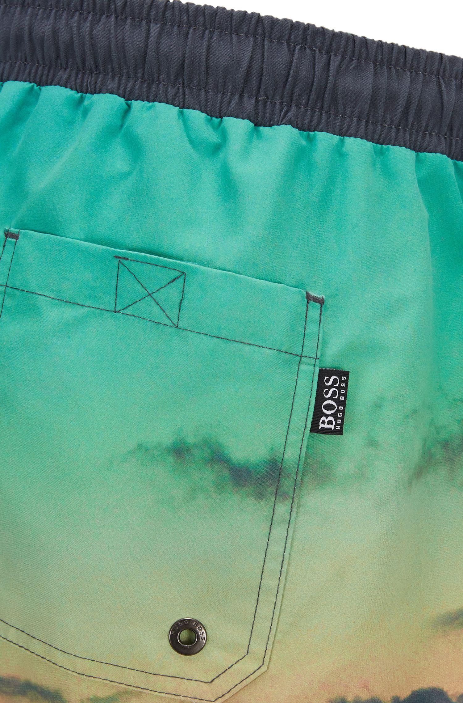 Shark Print Quick Dry Swim Trunk | Swordfish, Open Blue