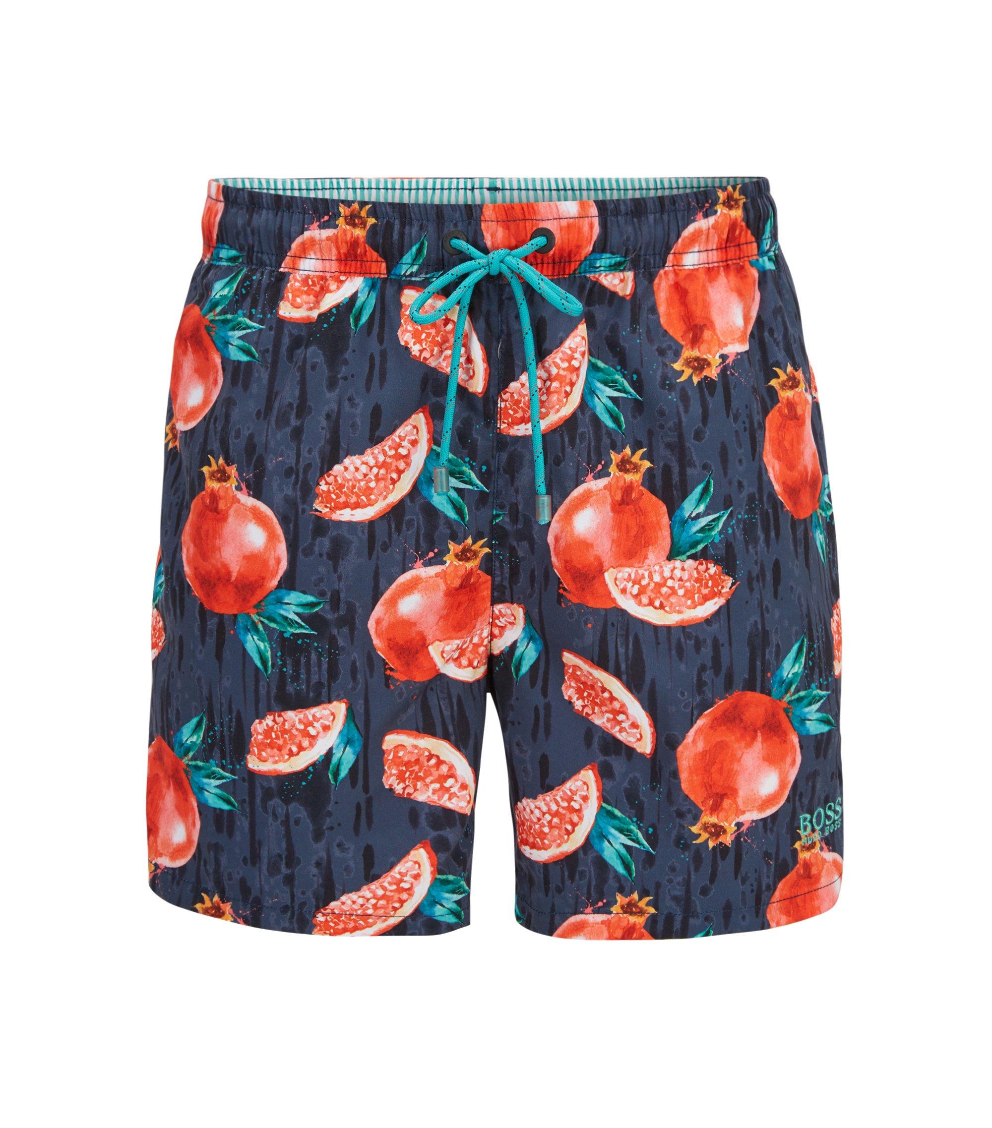 Fruit Print Swim Trunk | Threadfin, Open Grey