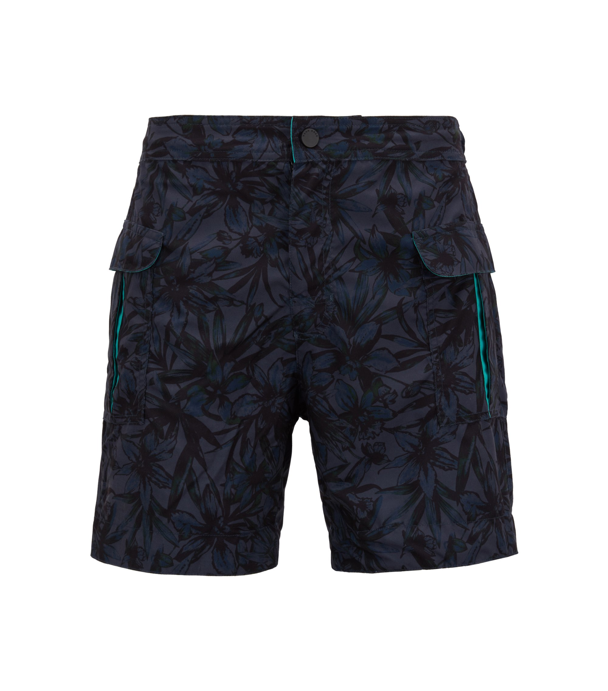 Tropical pattern quick-dry swim shorts, Open Grey