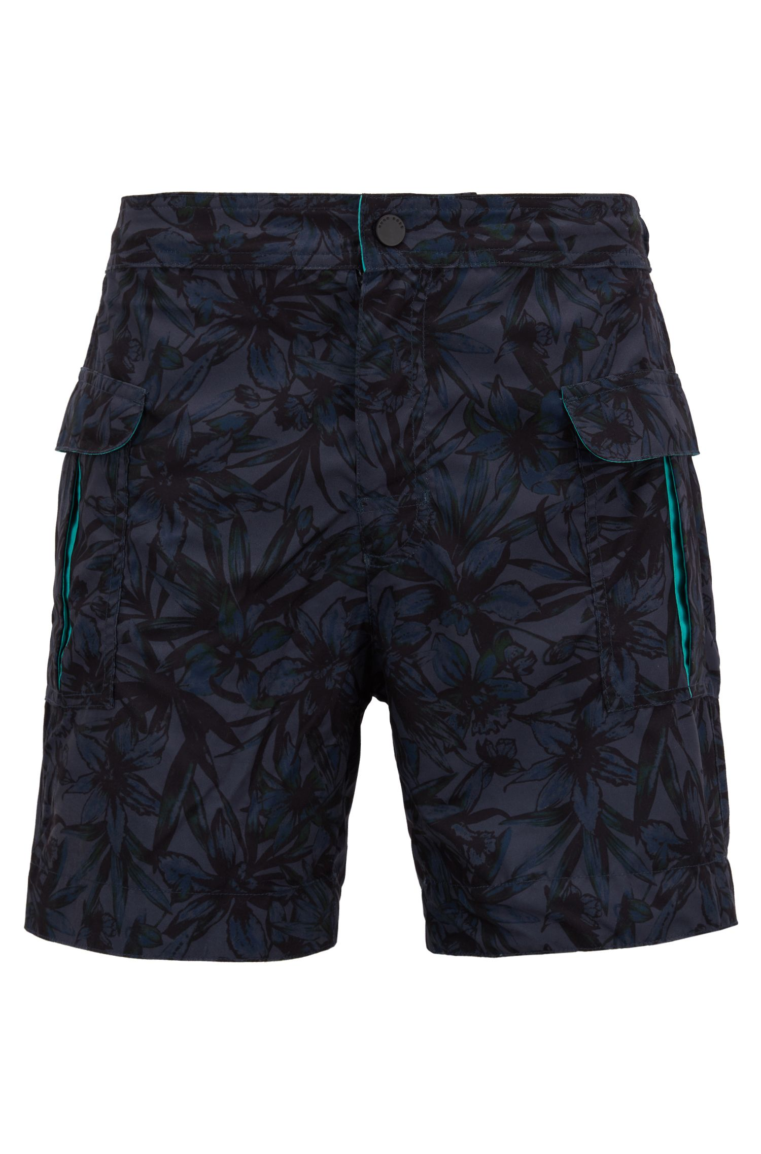 Tropical pattern quick-dry swim shorts