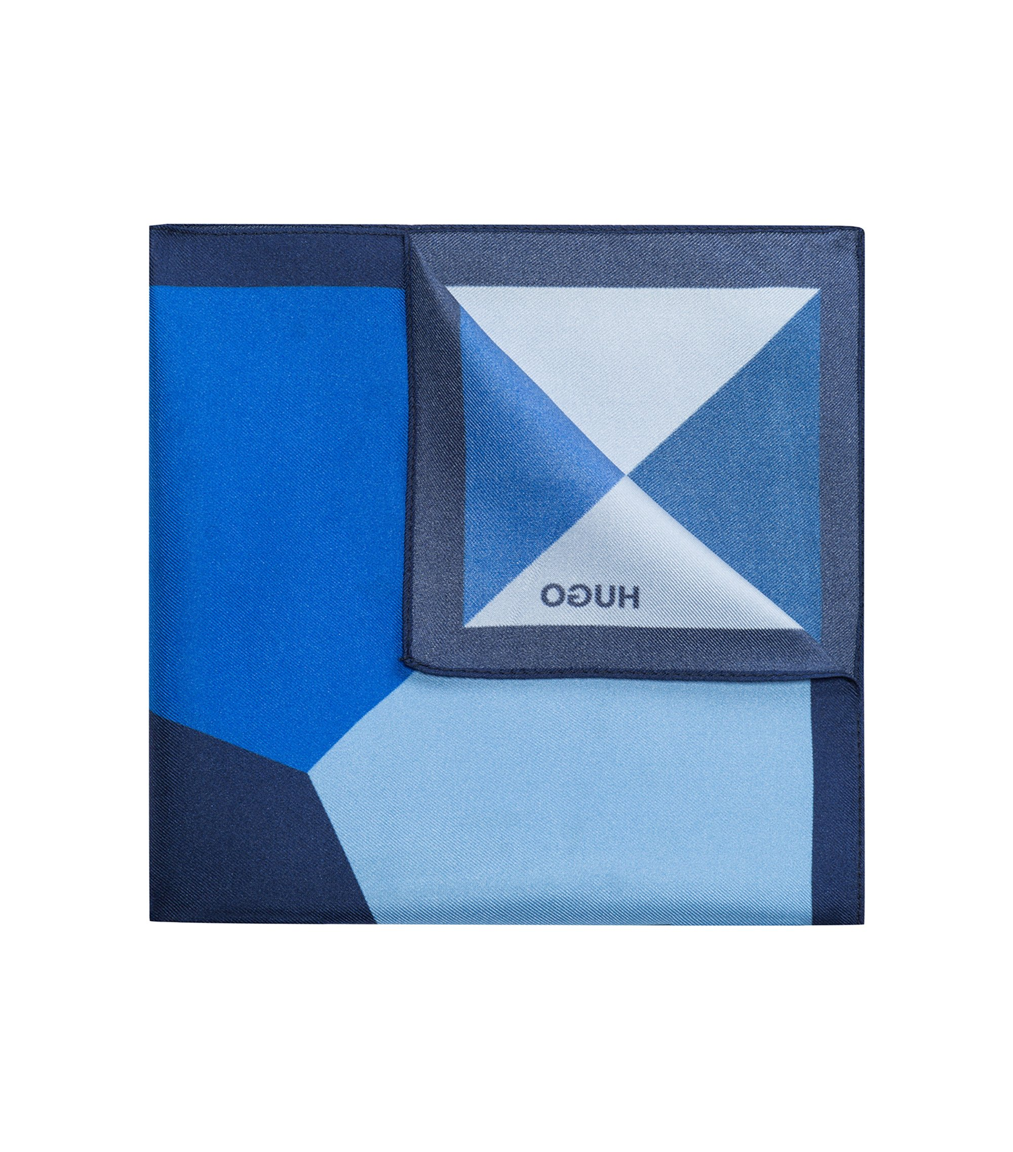 Colorblocked Italian Silk Pocket Square, Dark Blue