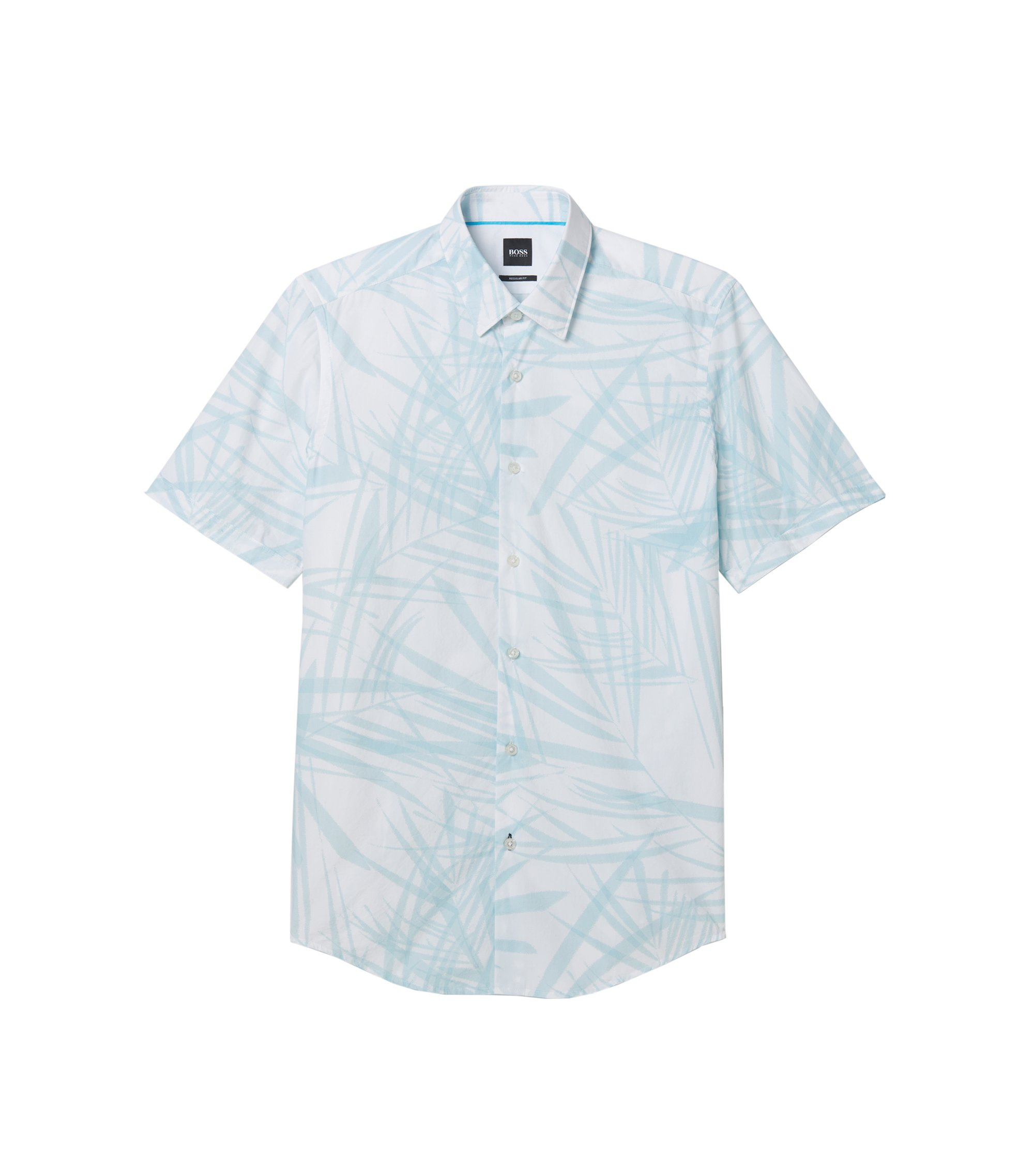 Palm Print Cotton Shirt, Regular-Fit  | Luka, Light Blue