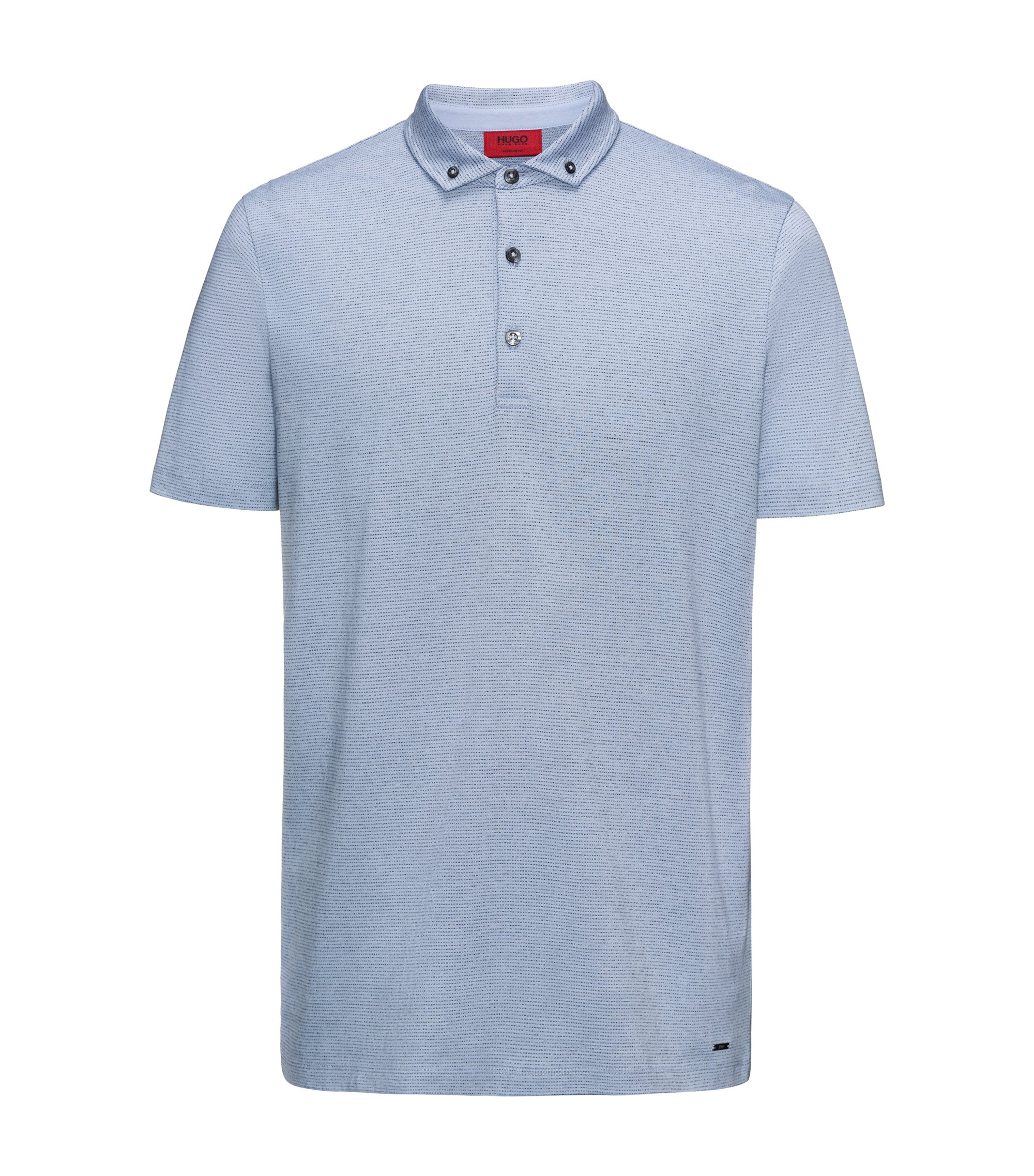 Cotton Blend Polo Shirt, Regular Fit | Deleton, Light Blue