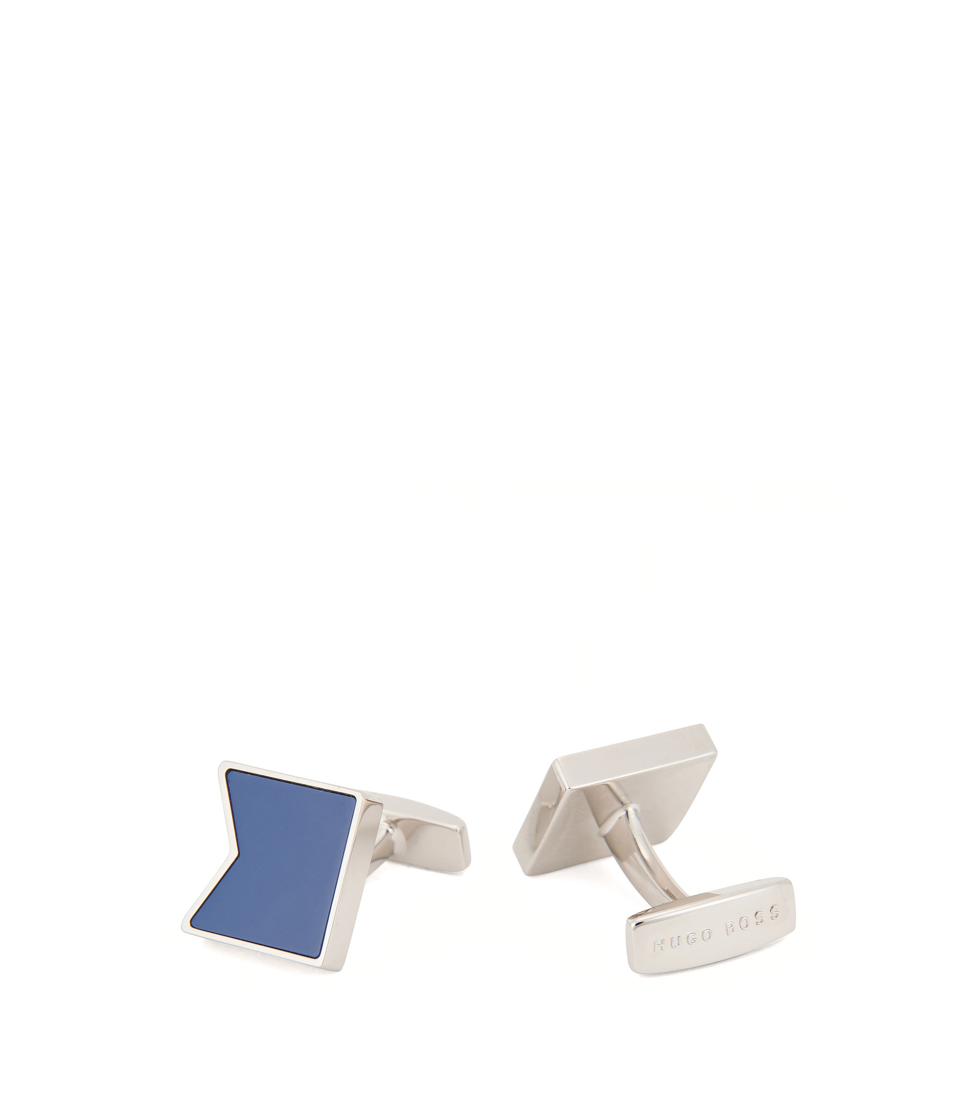 Enamel & Brass Cufflinks, Blue