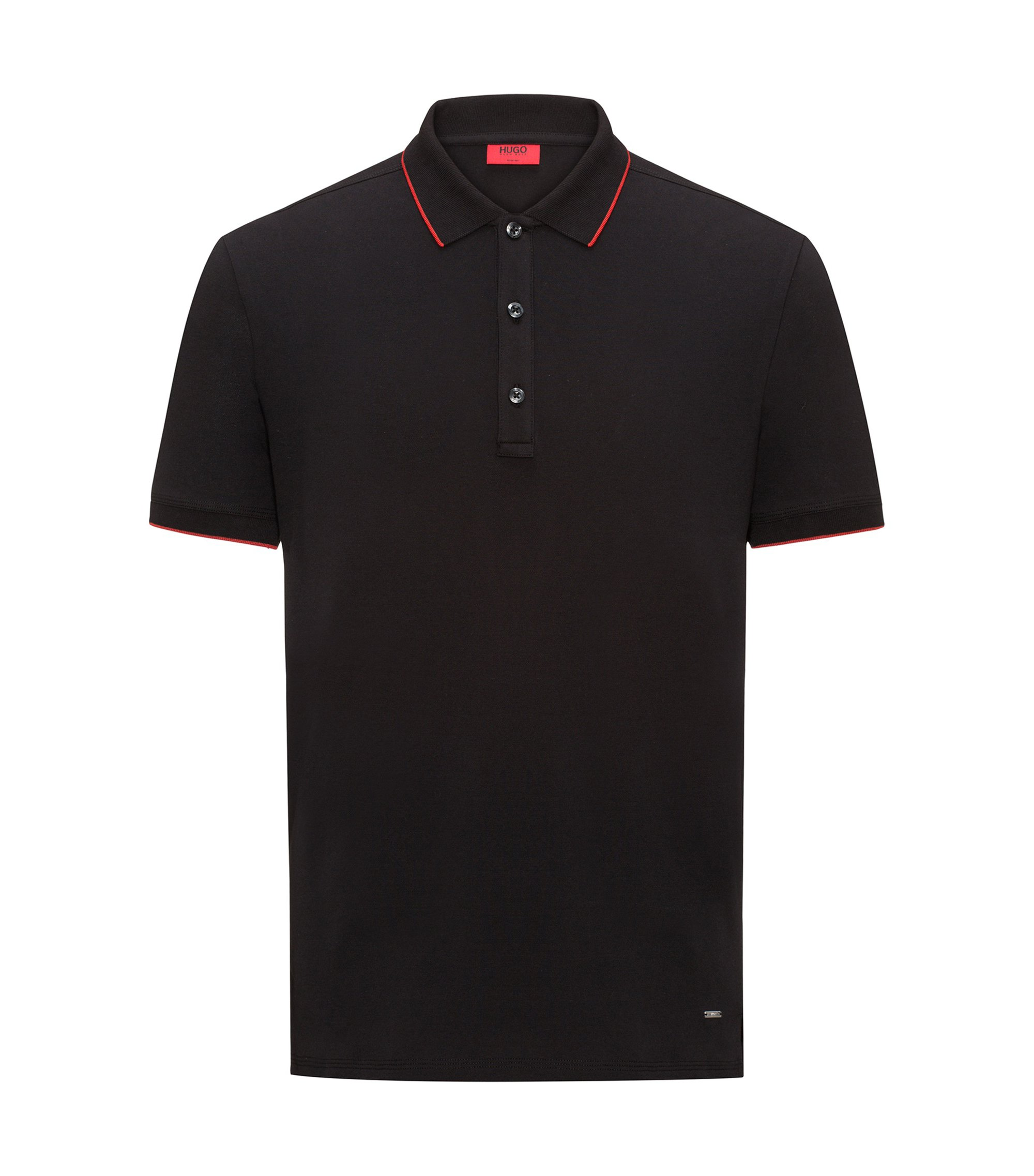 Stretch Cotton Polo Shirt, Slim Fit | Dinoso, Black