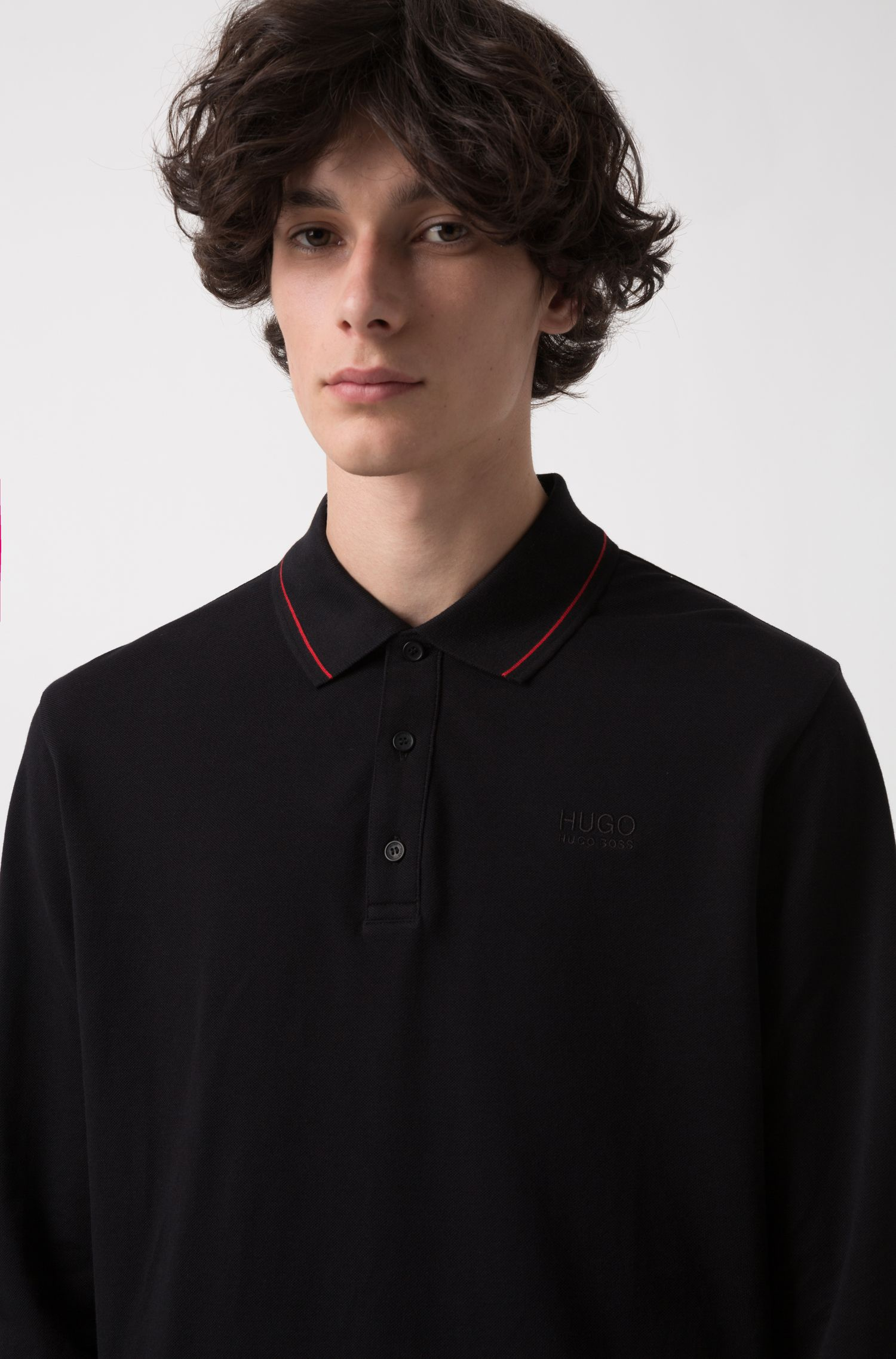 Slim-fit pique polo shirt with contrast tipping, Black